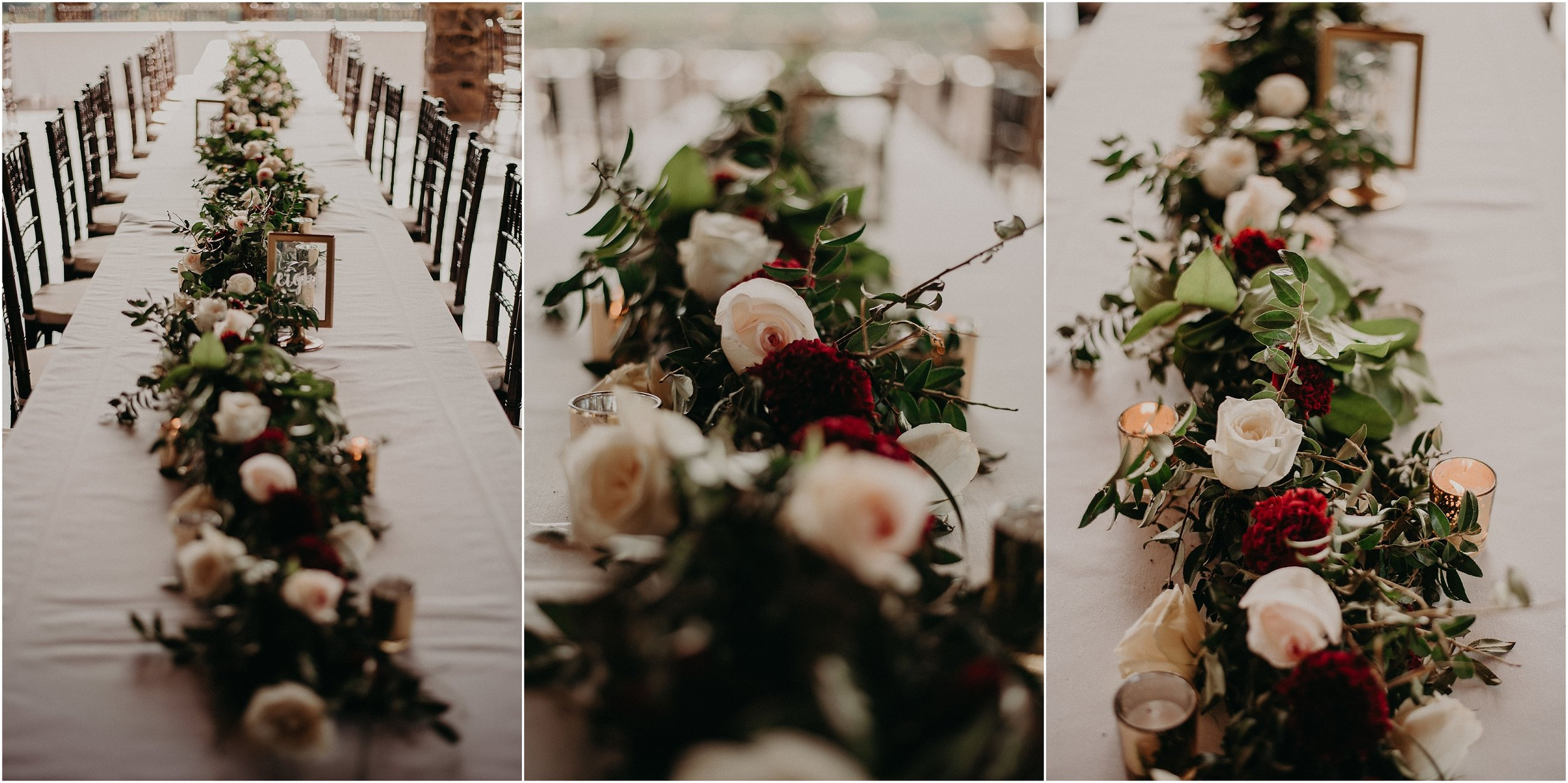 Centerpiece floral garland by Chickamauga Florist