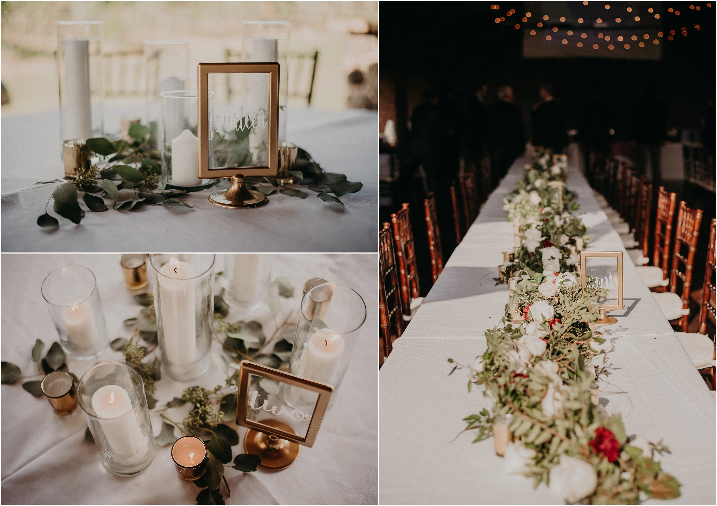 Table centerpieces for reception decor designed by Maggie Walker Weddings