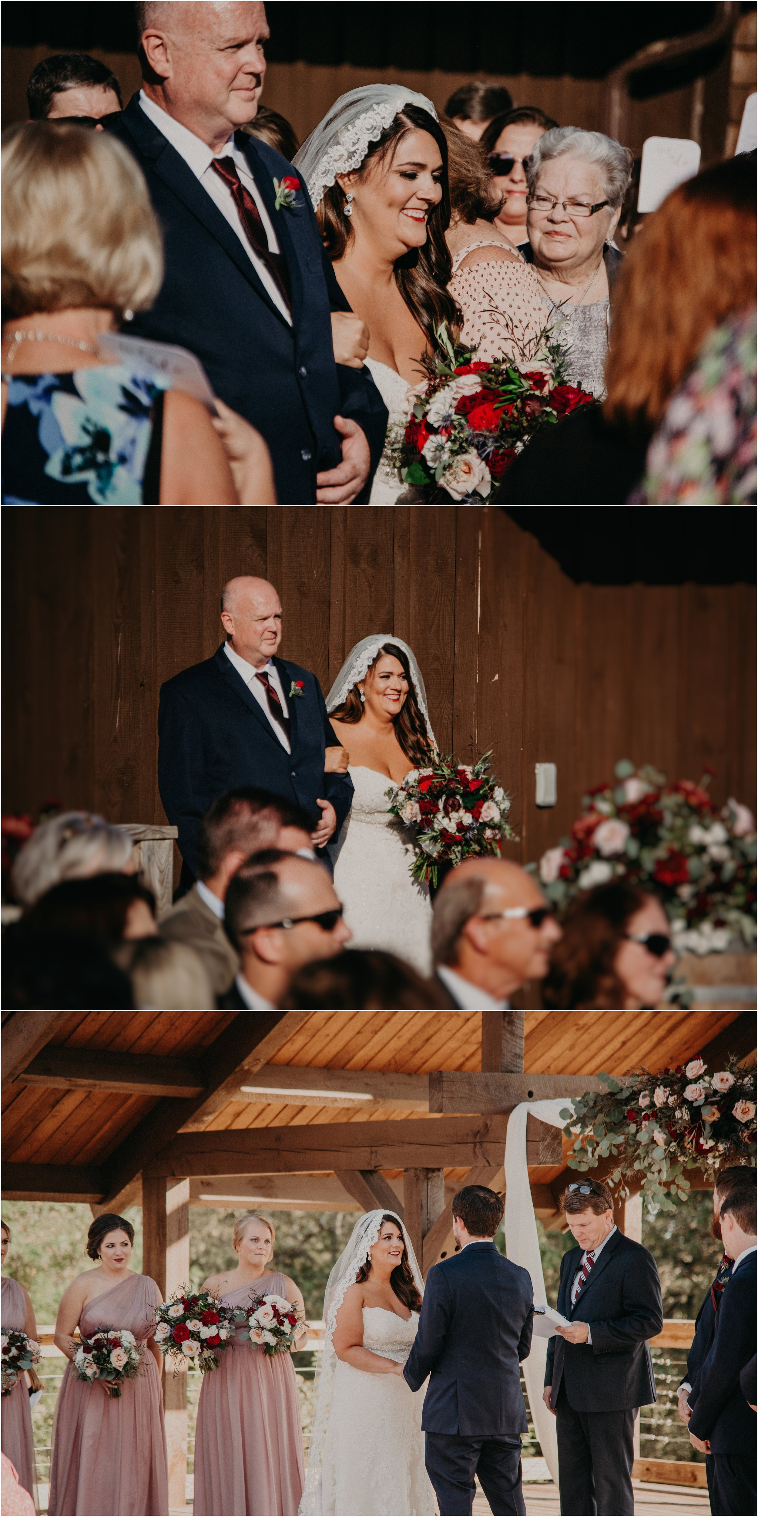 Father of the bride walks his daughter down the aisle to her waiting groom