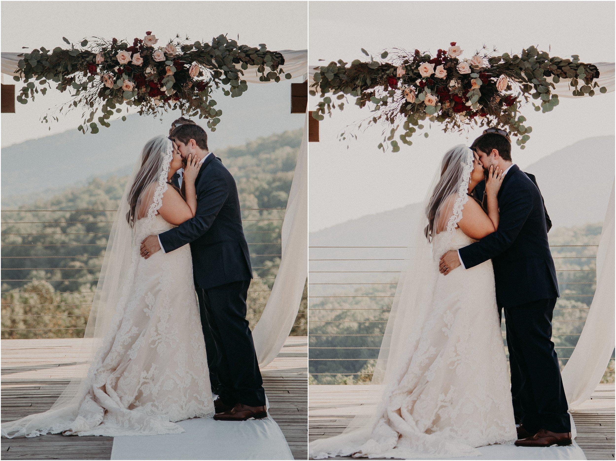 You may now kiss the bride at Debarge Winery Vineyard wedding