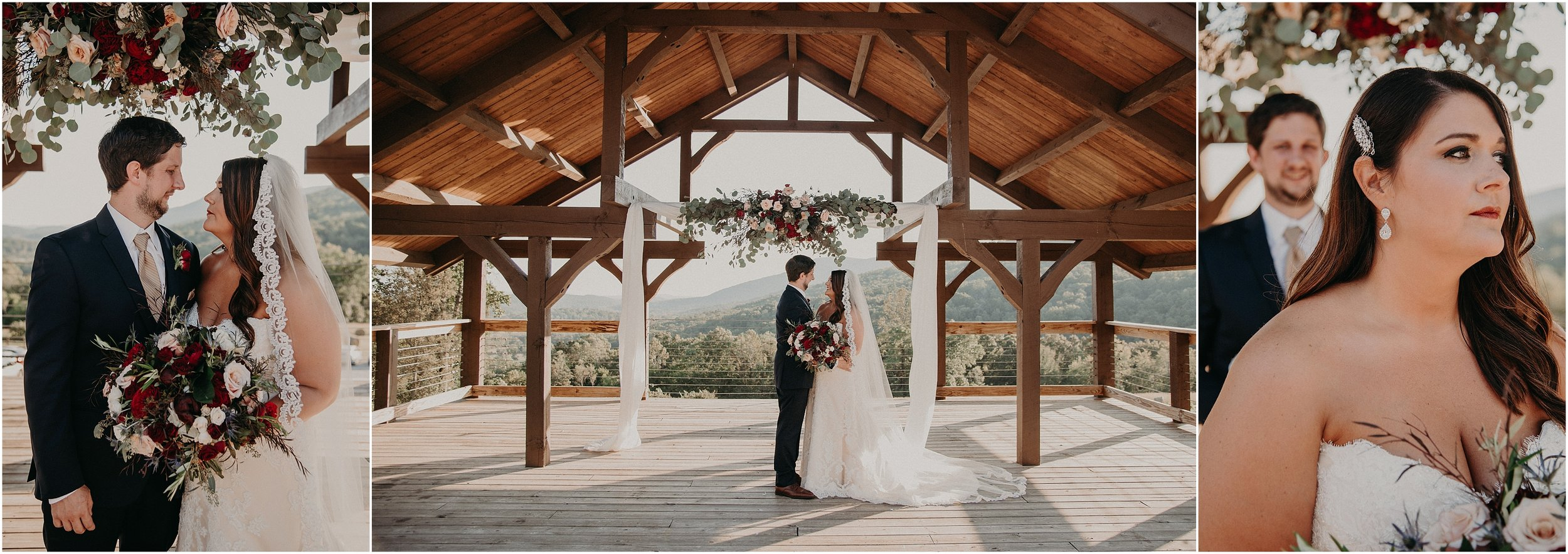 Bride and groom portraits beneath their altar with floral design by Chickamauga Florist