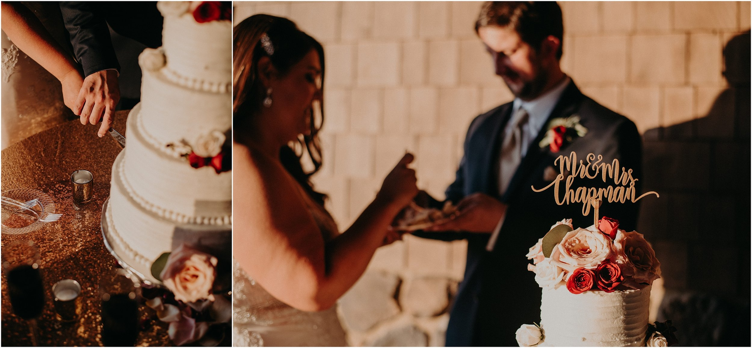 Bride and groom cut their wedding cake together with cake design by Southern Bliss Bakery