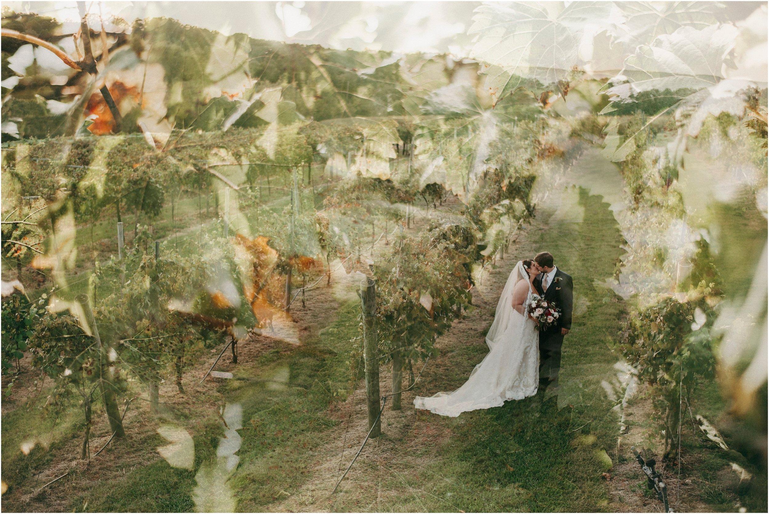 Fine art double exposure bride and groom portrait in vineyard