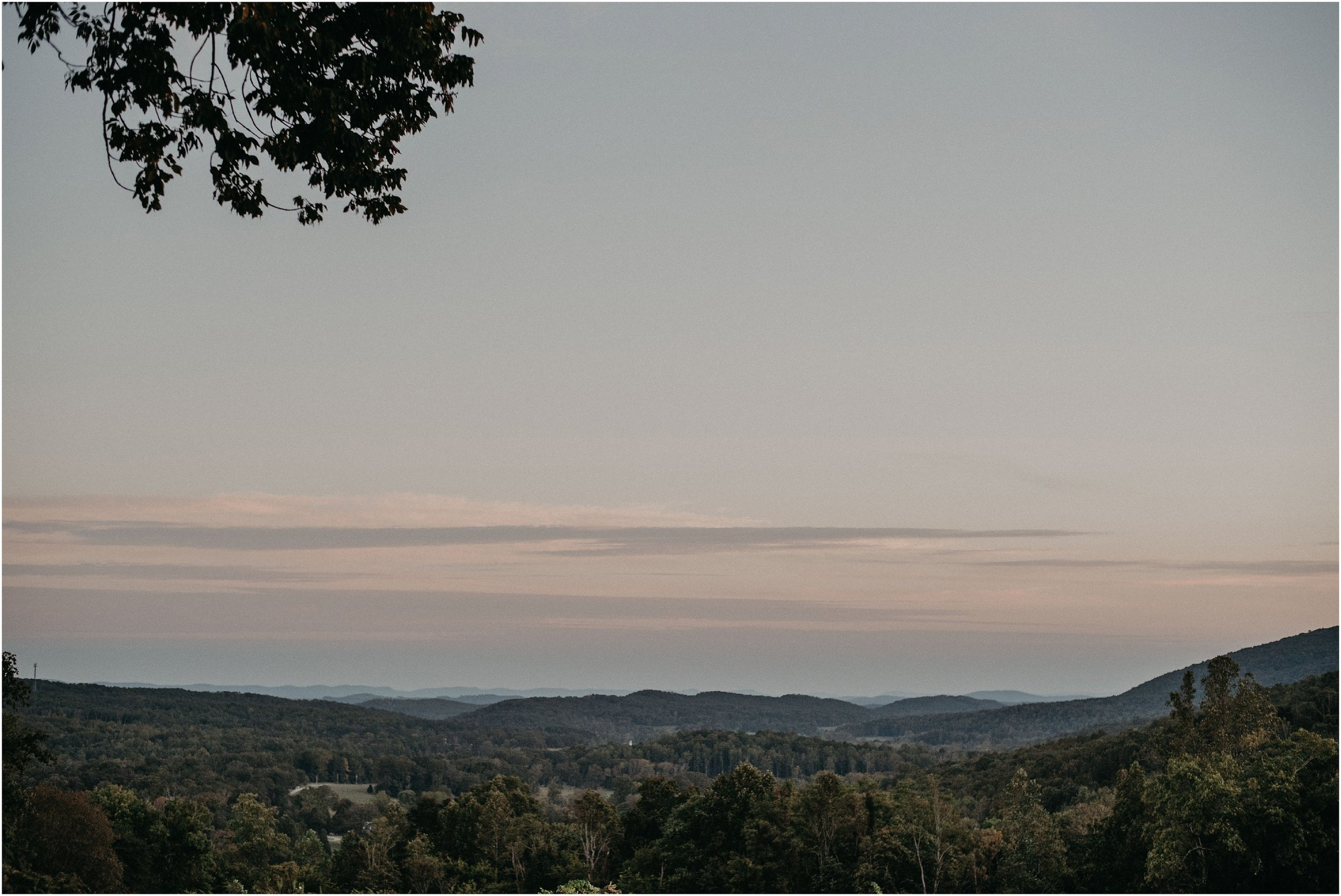 Sunset over Blue Ridge Mountains at Debarge Winery in Lafayette, Georgia