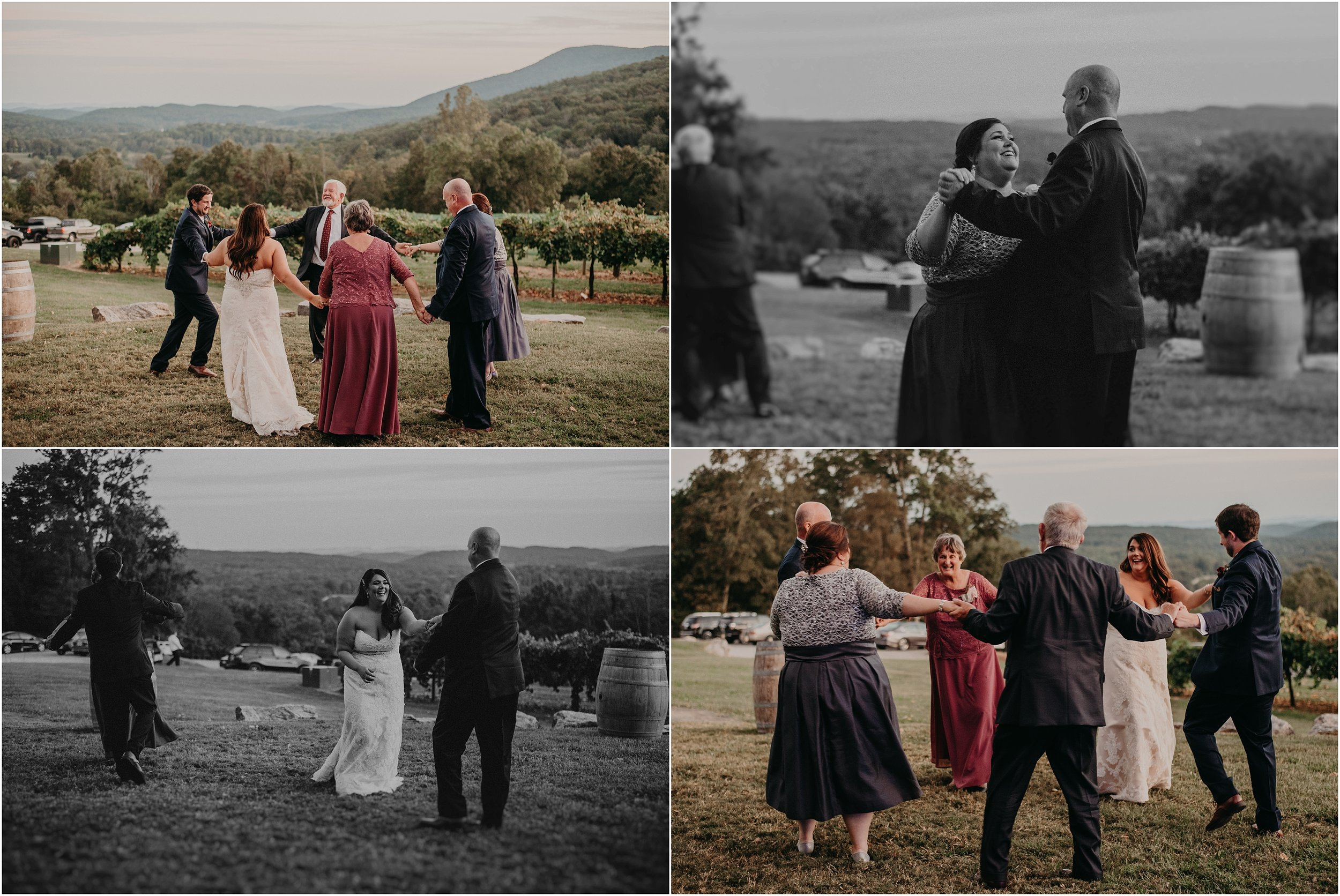 Families of bride and groom share dance together