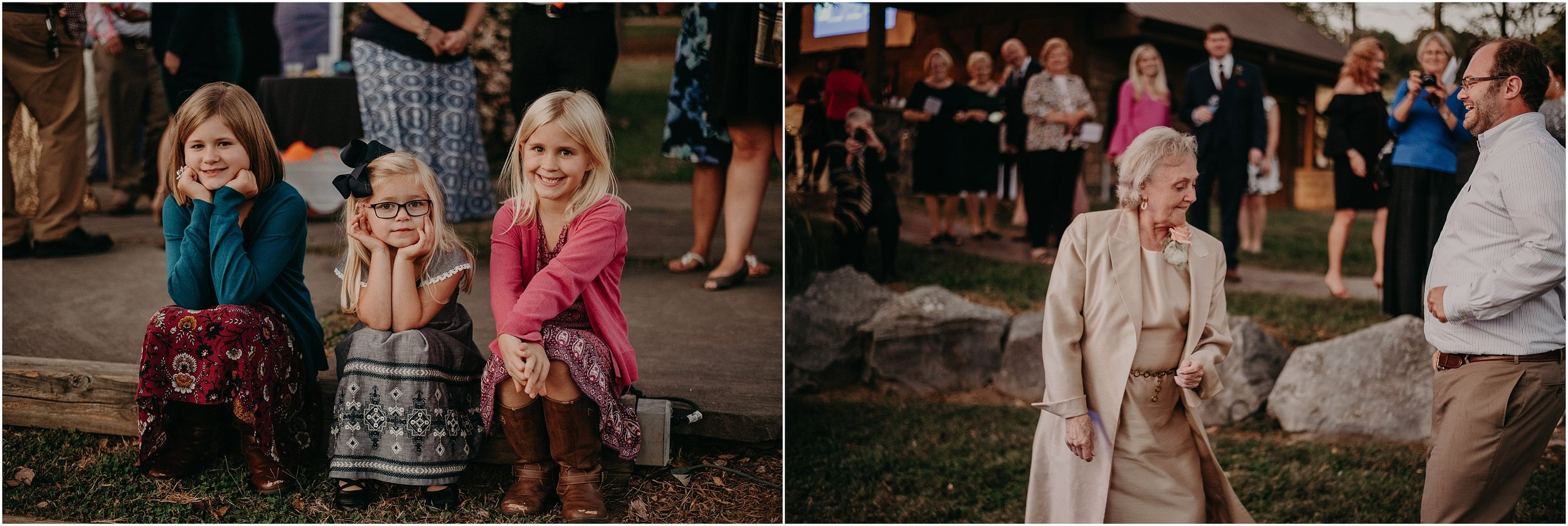 Kids watch adult dance during reception