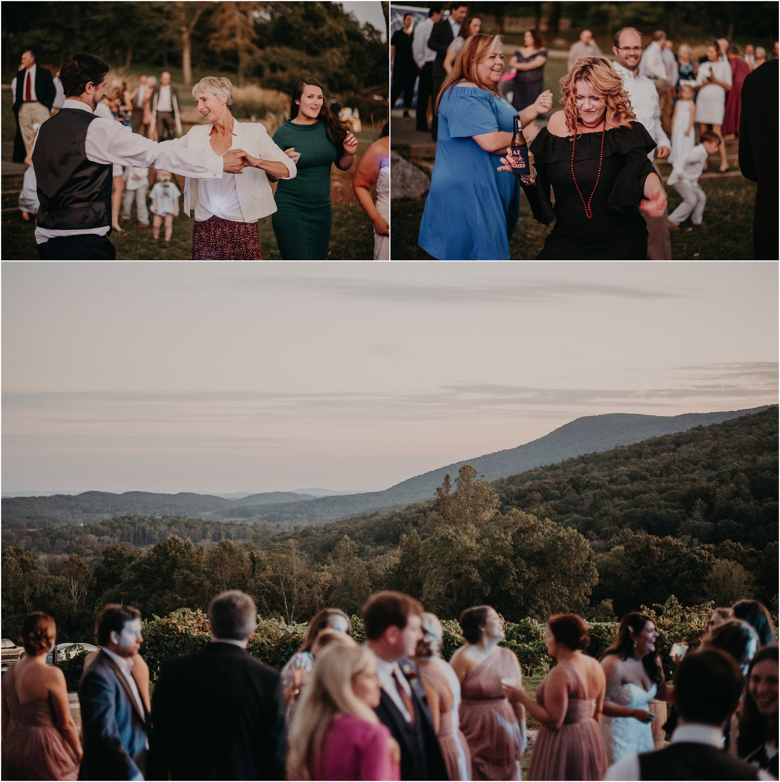 Guests enjoy the outdoor reception with views of the Blue Ridge Mountains