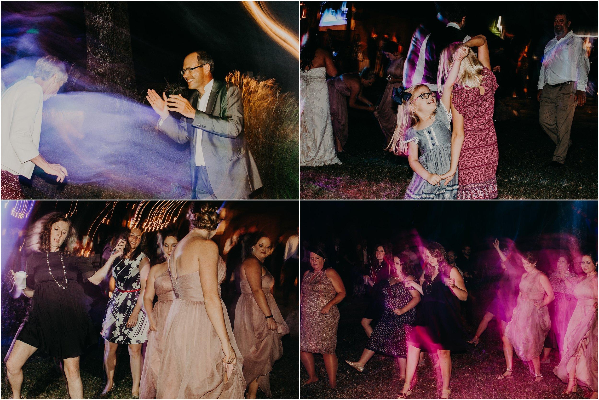 Slow shutter drag wedding reception images