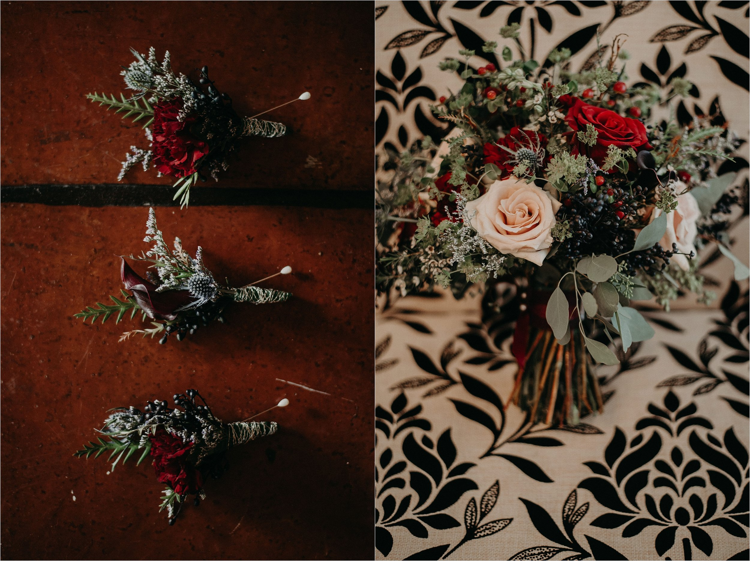 Floral bouquet and boutonnieres with eucalyptus, pink and red roses, and berry sprigs