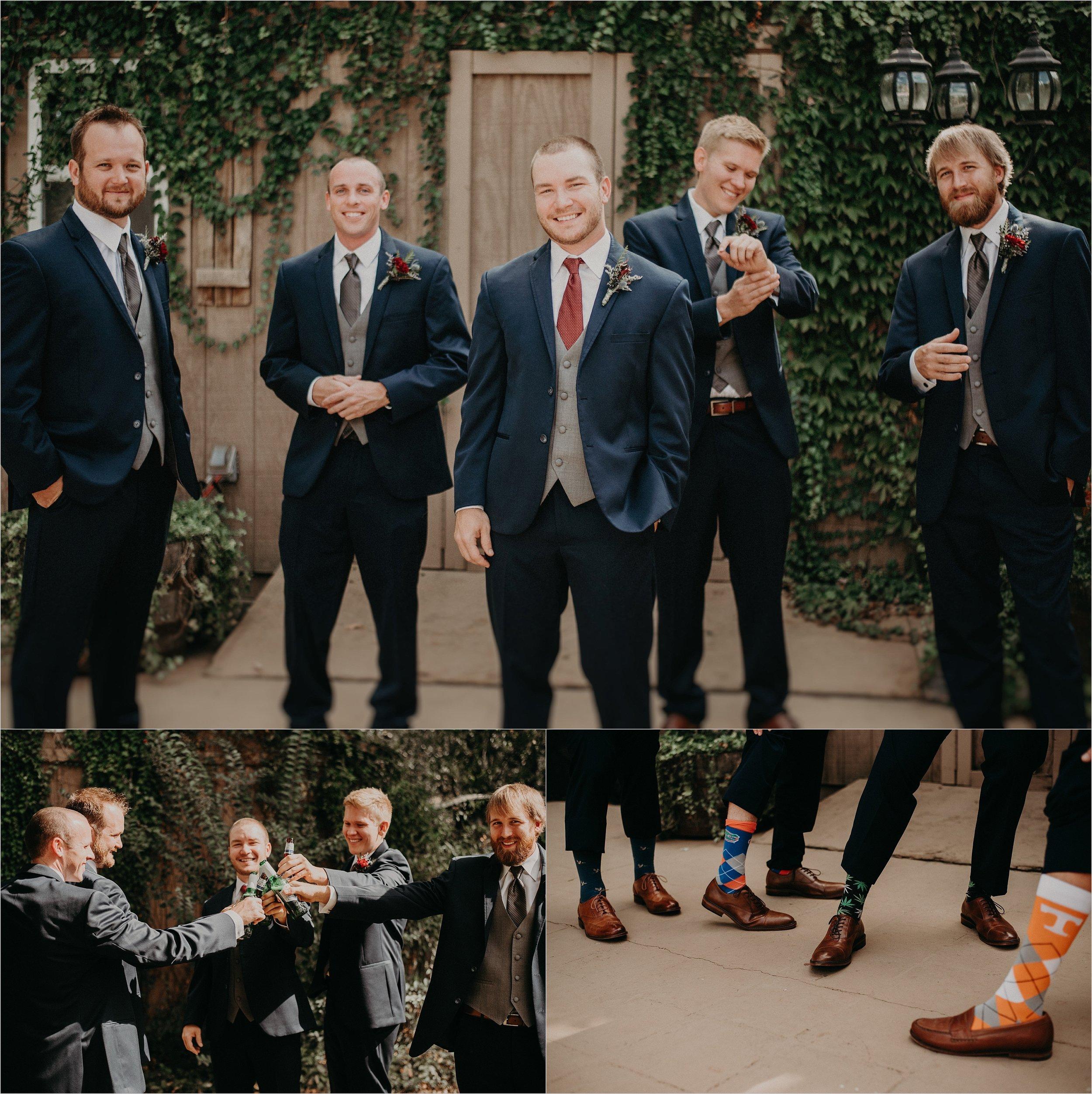 Groomsmen goof off before wedding ceremony