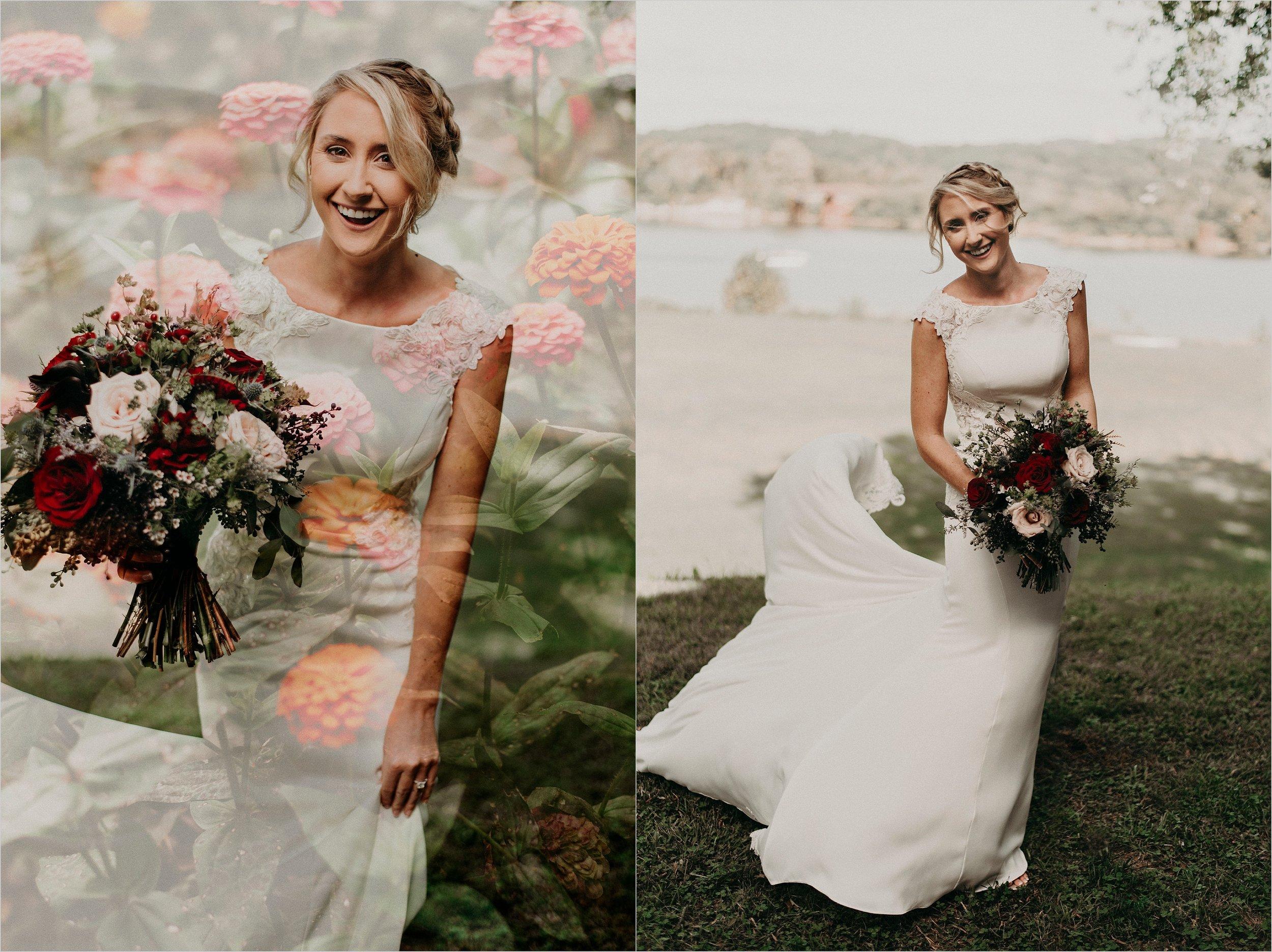 Bride's wedding gown billows in wind
