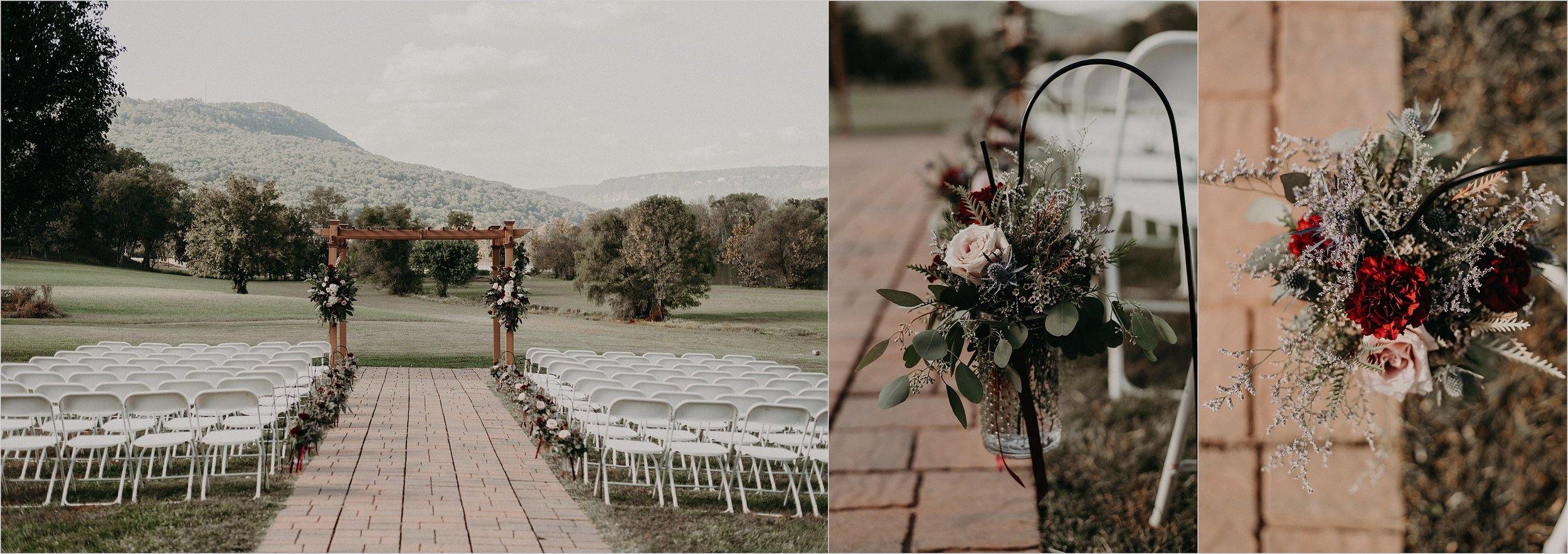 Ceremony florals and details with mountains in background of Tennessee