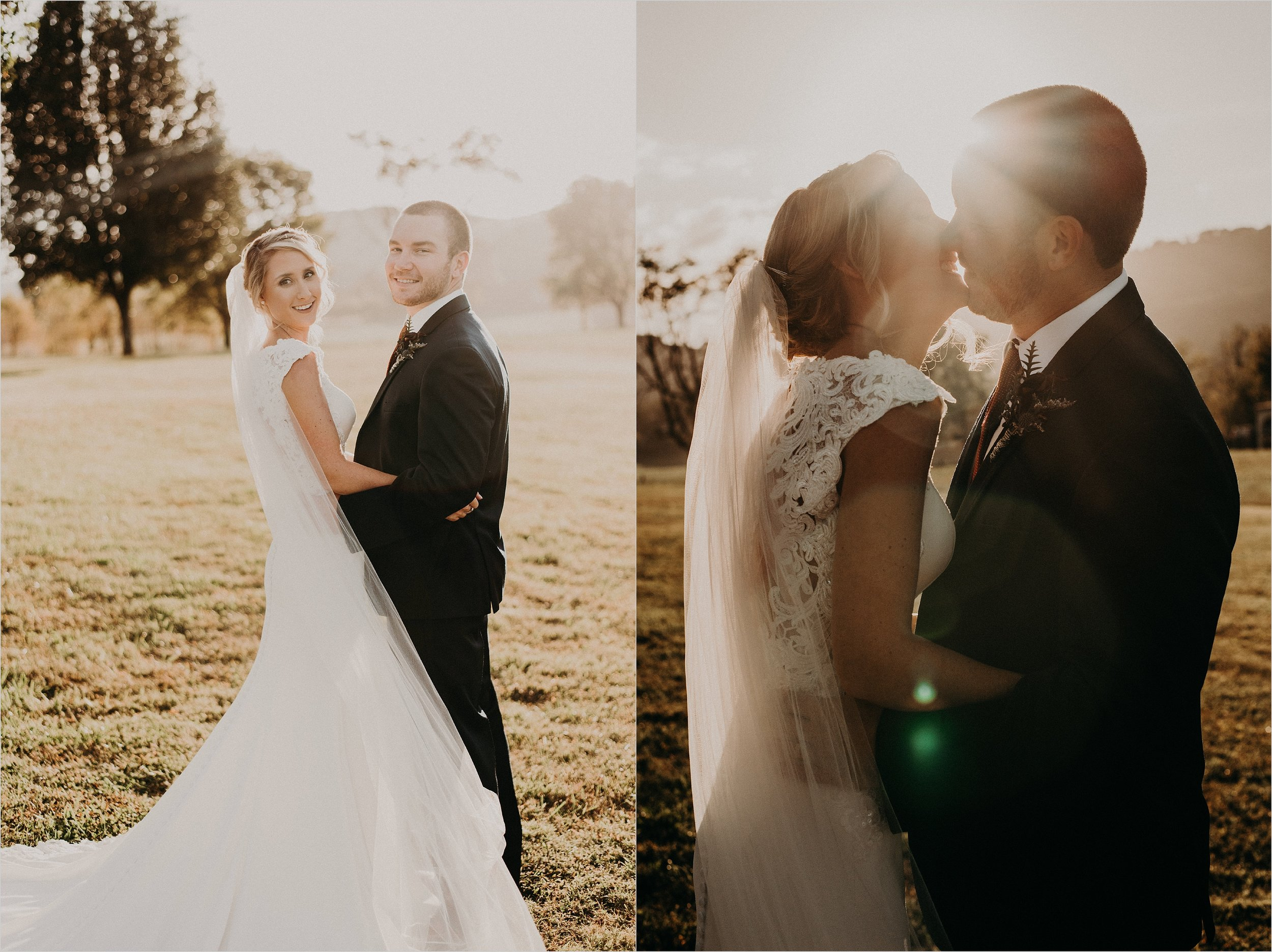 Bride and groom share kiss together at sunset
