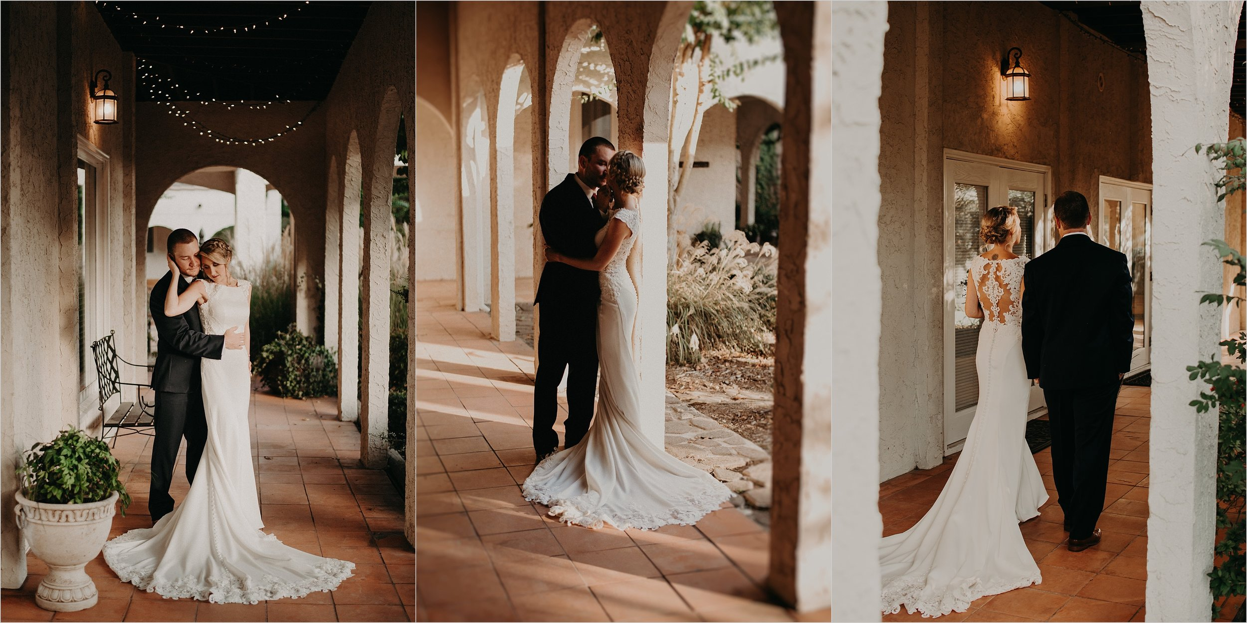 Villa inspired bride and groom portraits beneath arches at Tennessee Riverplace