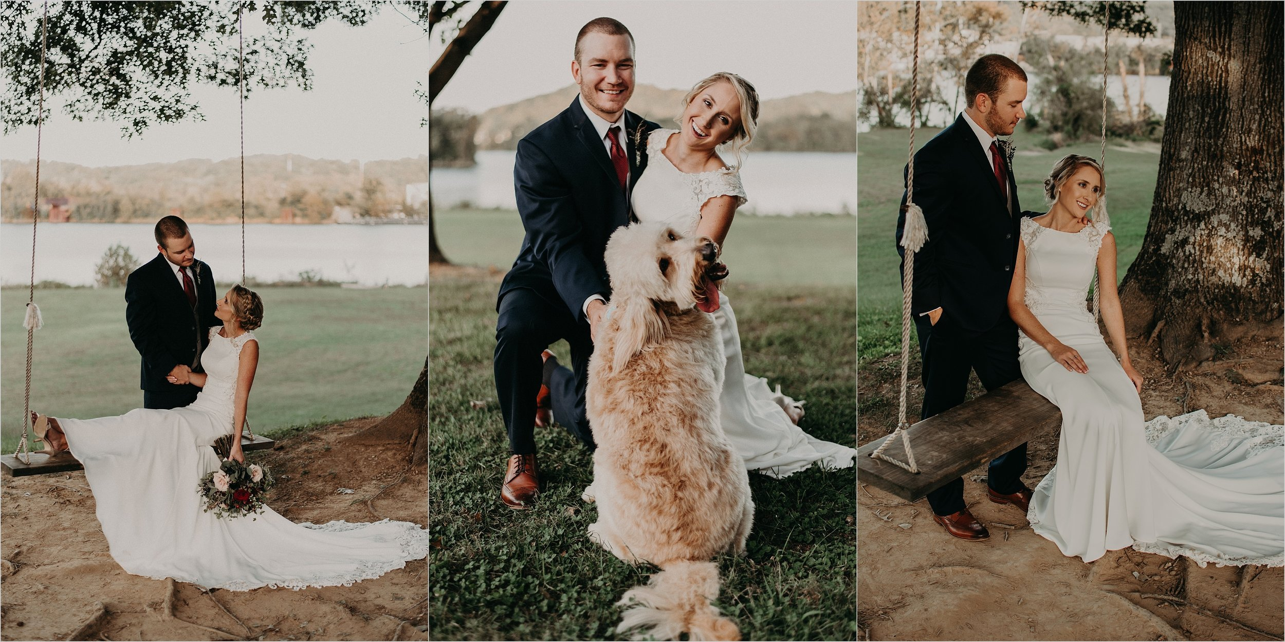 Bride and groom swing together next to Tennessee River