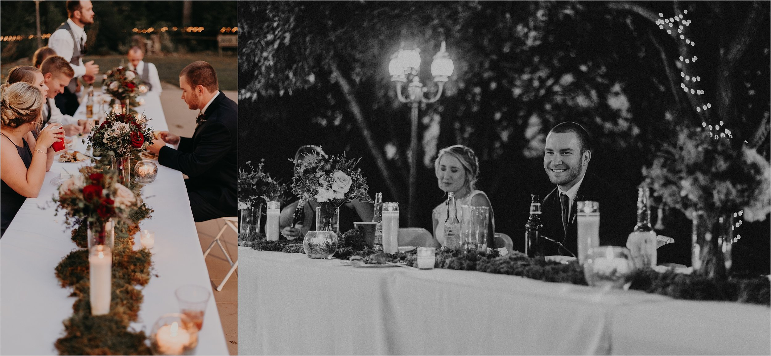 Toasts and dinner at wedding reception