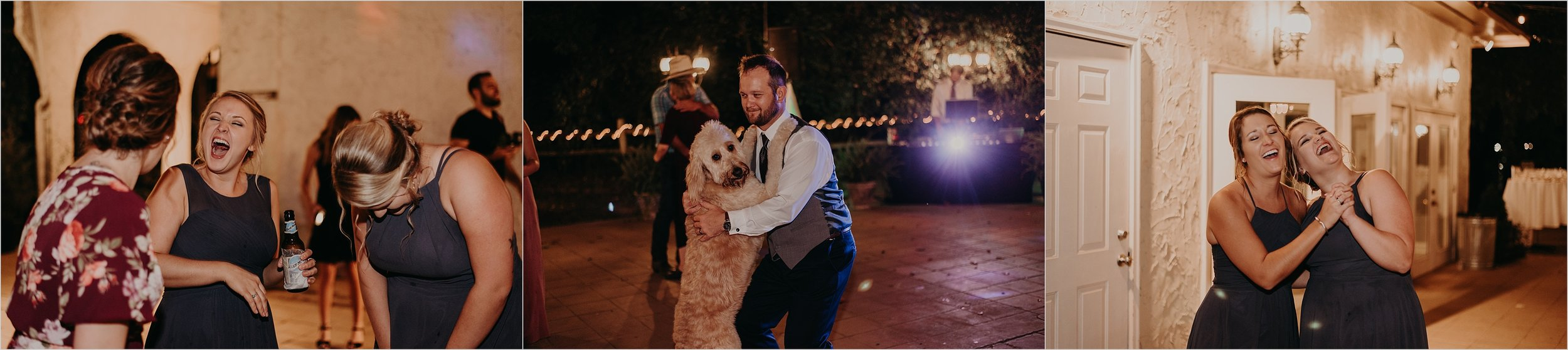 Wedding party has a great time at reception