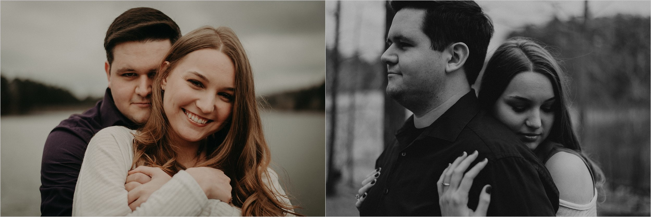 Moody and dramatic cloudy engagement session at Oak Mountain State Park in Alabama