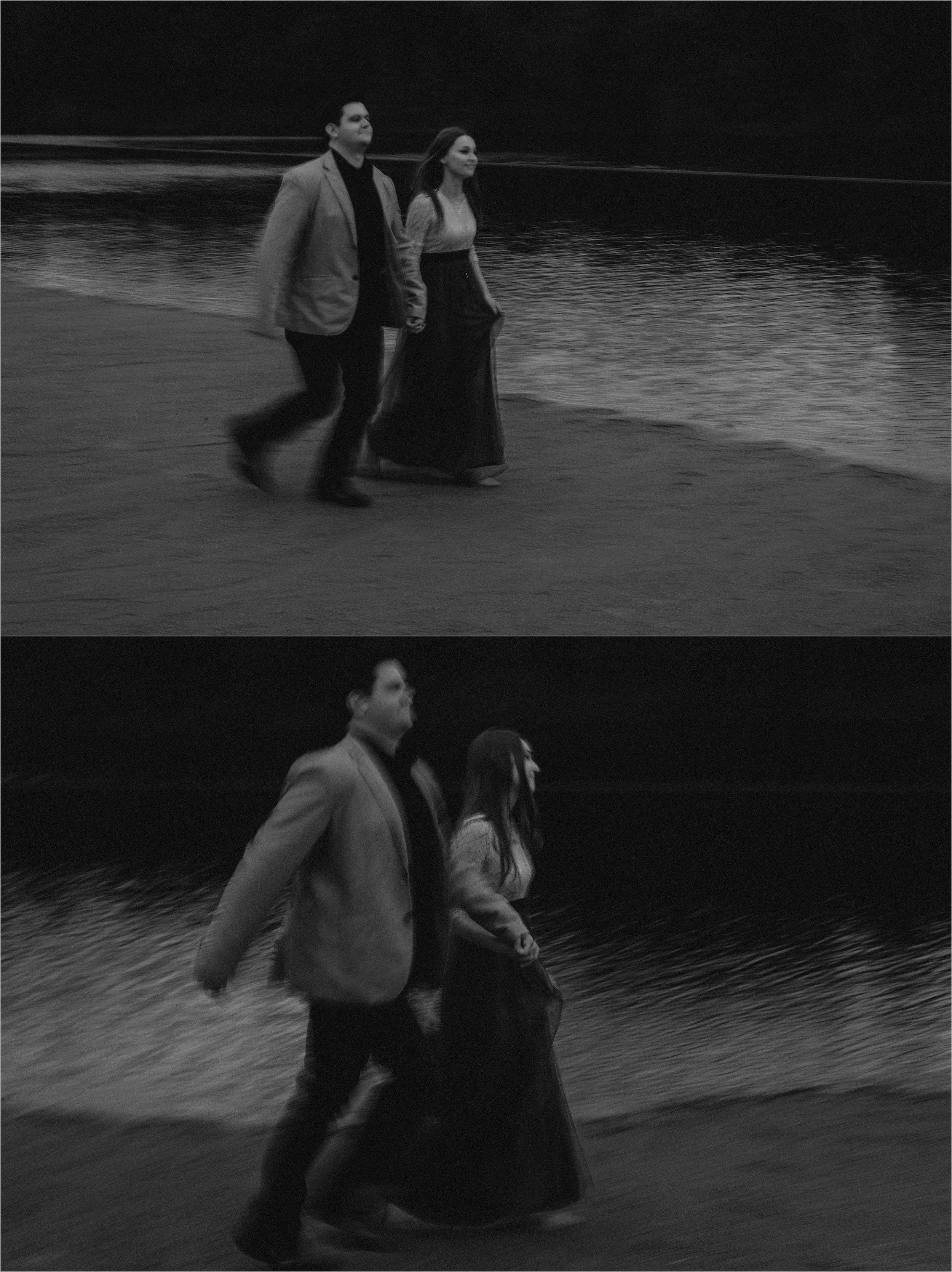 Blurred movement of a couple running on the beach at twilight