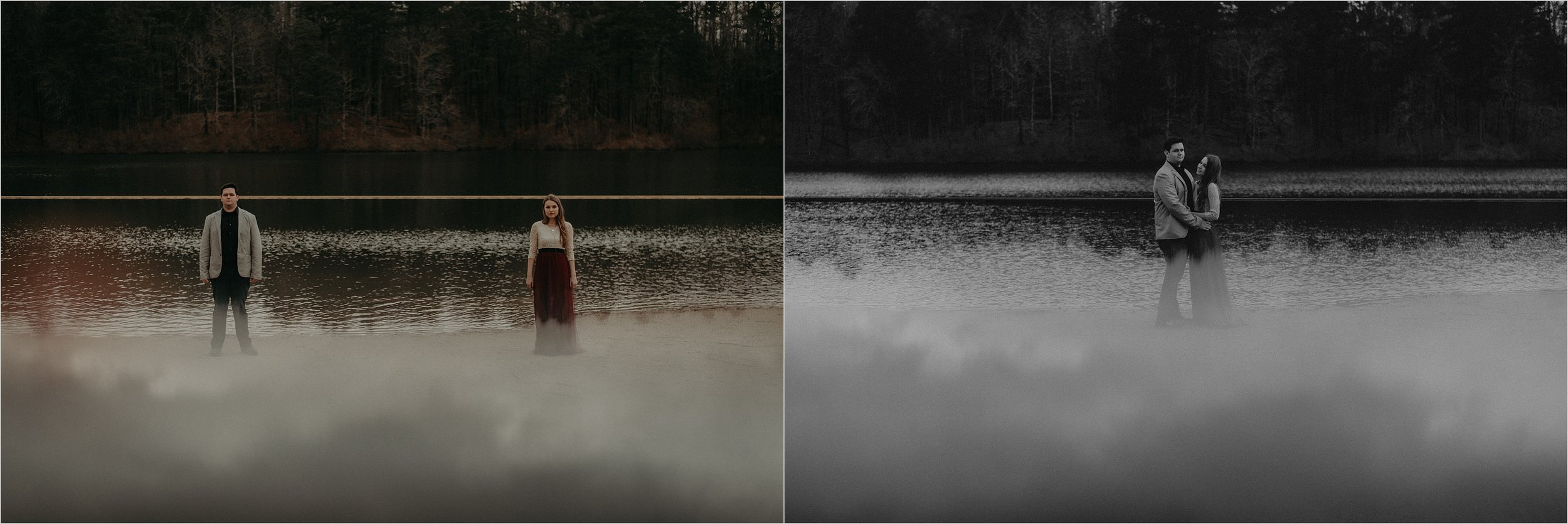 Engagement session at man-made beach on an overcast gloomy day in Oak Mountain State Park, Alabama
