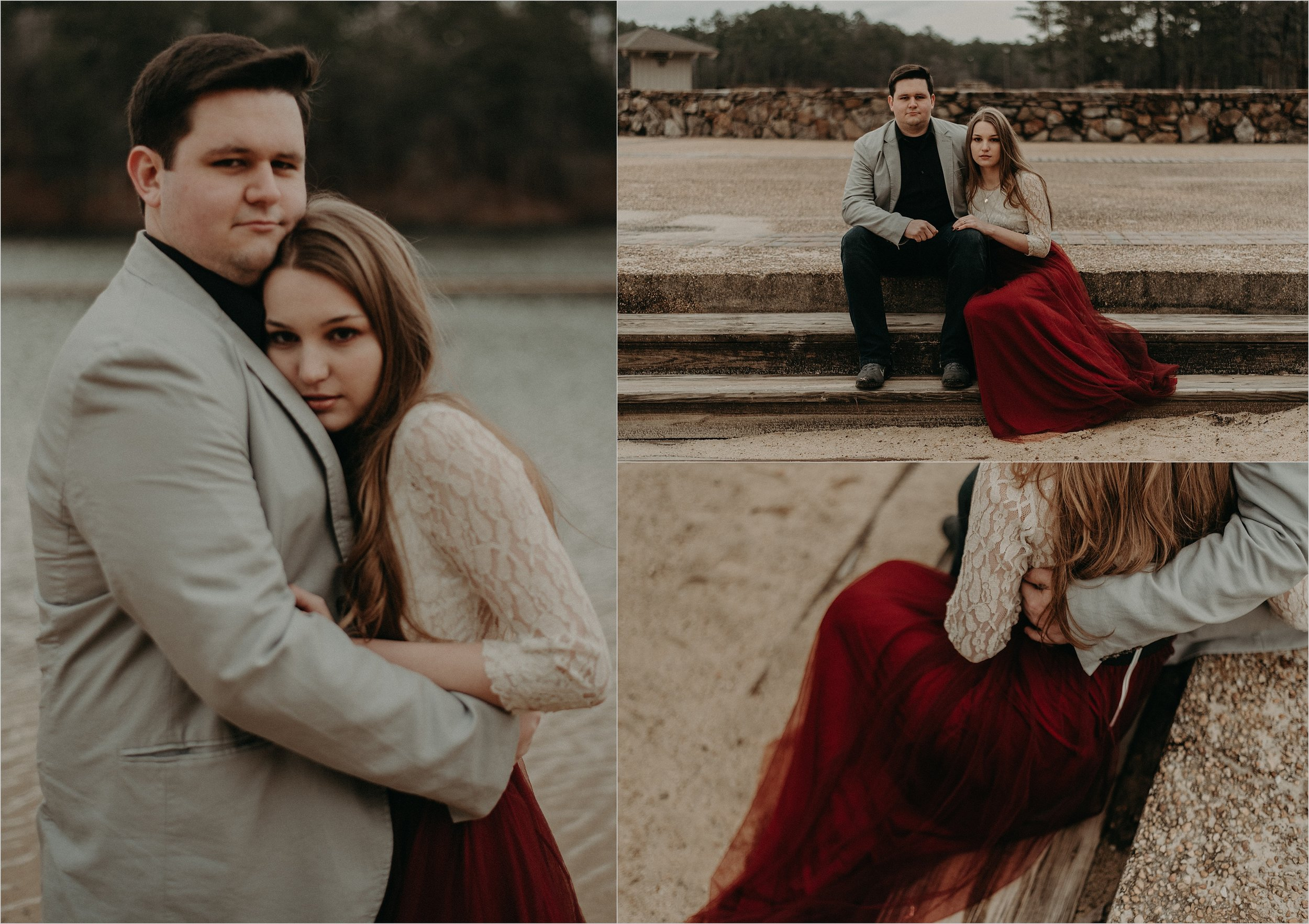 Winter engagement session with bride wearing a deep red gown next to a lake in Birmingham, Alabama