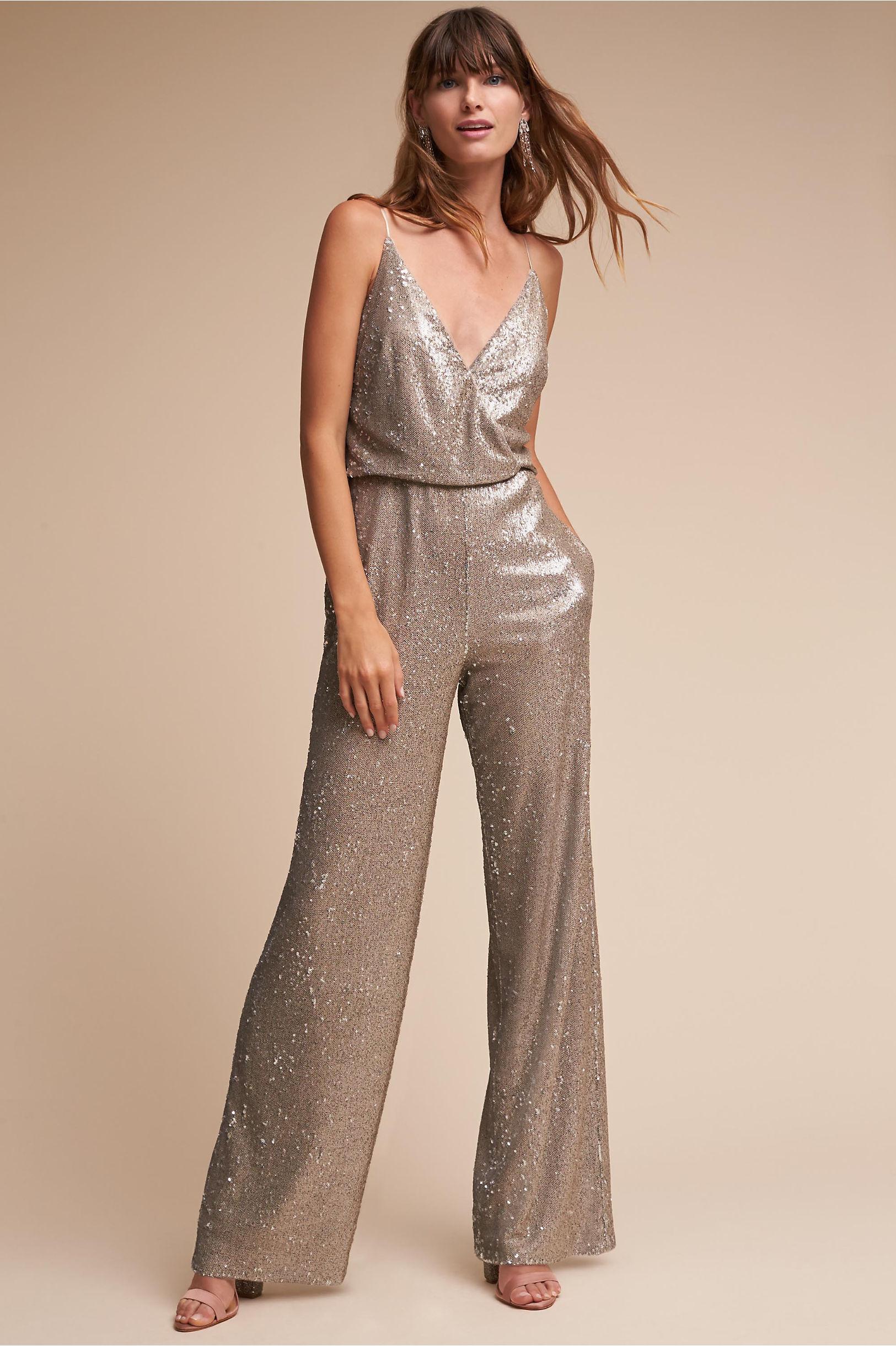 BHLDN La Lune Sequin Jumpsuit for brides who love a little sparkle!