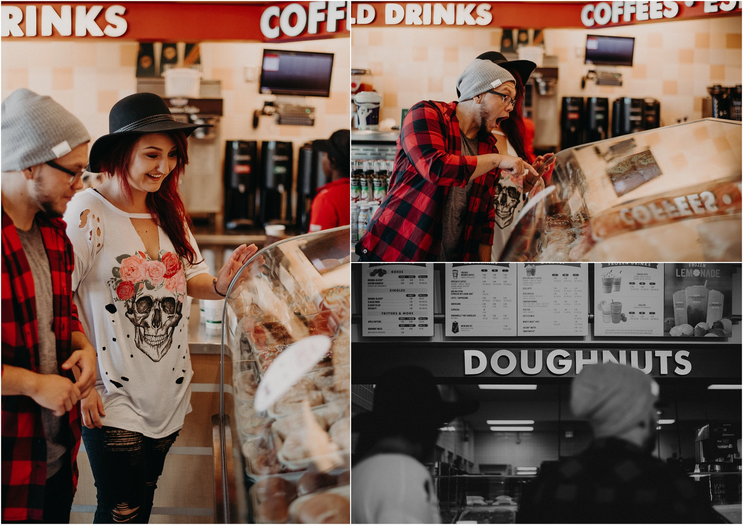 Excited for doughnuts at Krispy Kreme during love story couples session