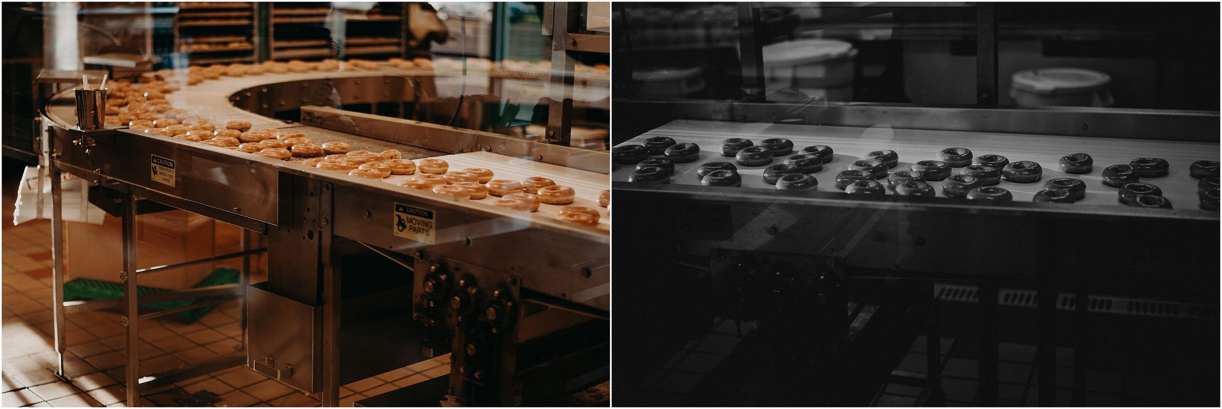 Hot and fresh glazed doughnuts at Krispy Kreme