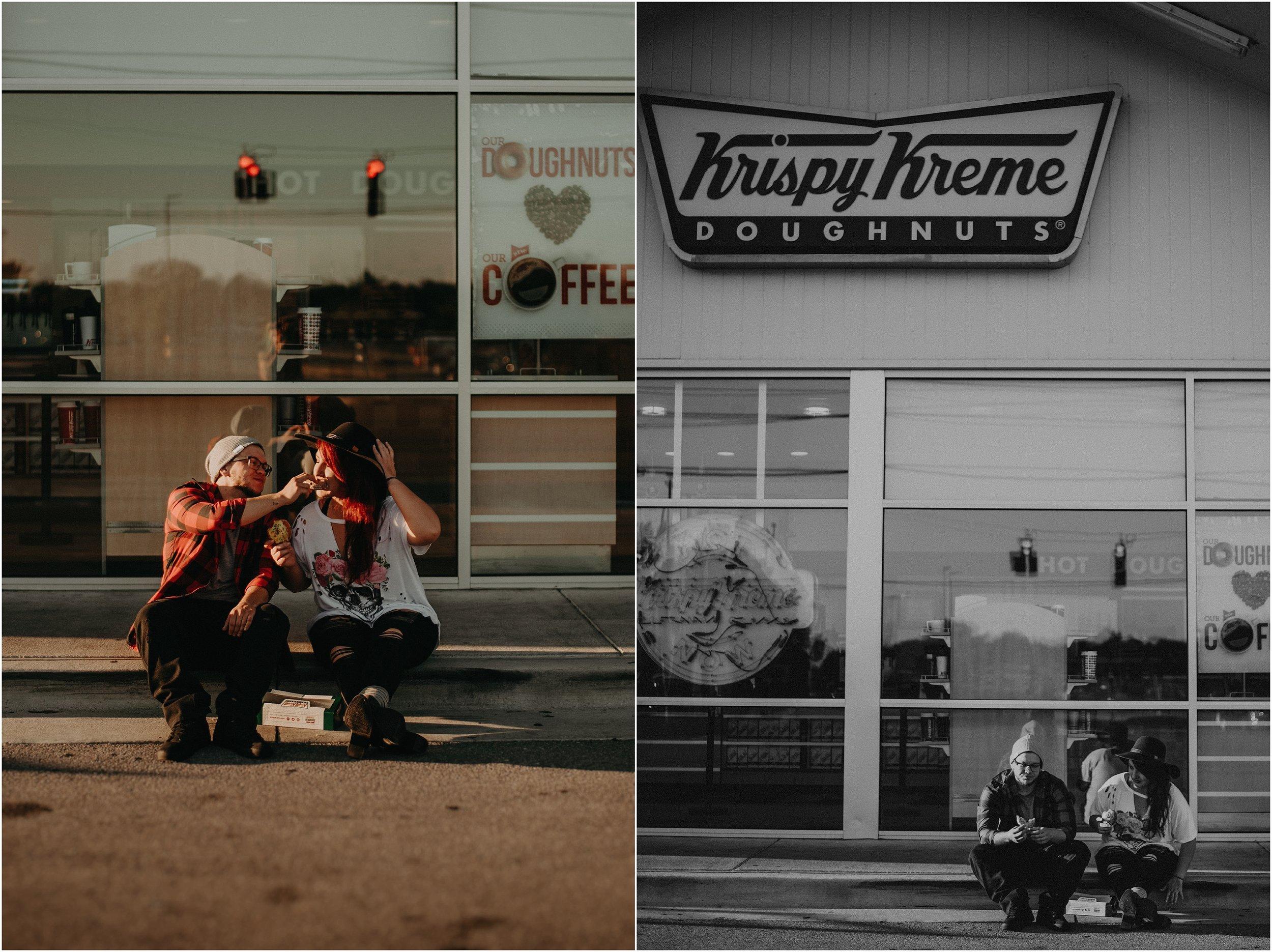 Sitting outside of Krispy Kreme Doughnuts eating doughnuts in the parking lot