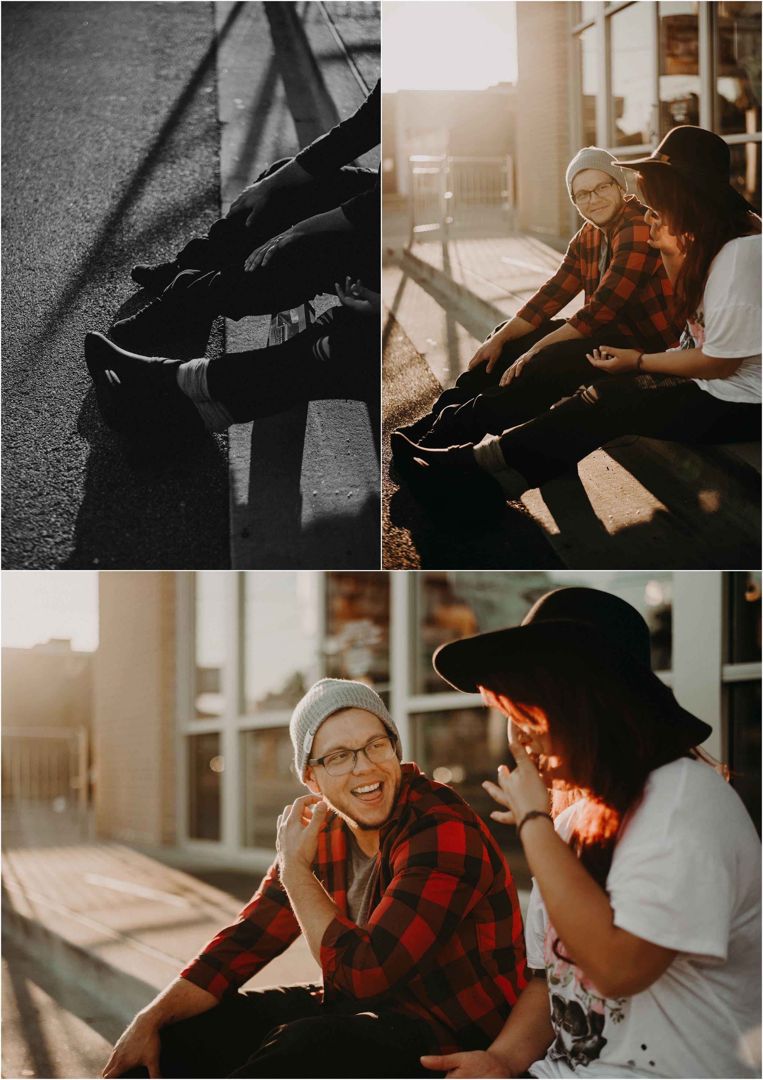 Love story photo session at Krispy Kreme