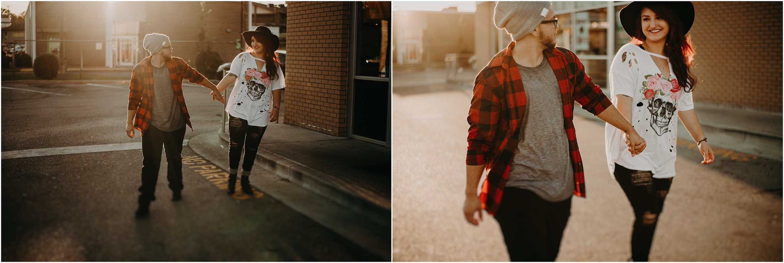 Hip couple walks hand in hand in parking lot during sunset