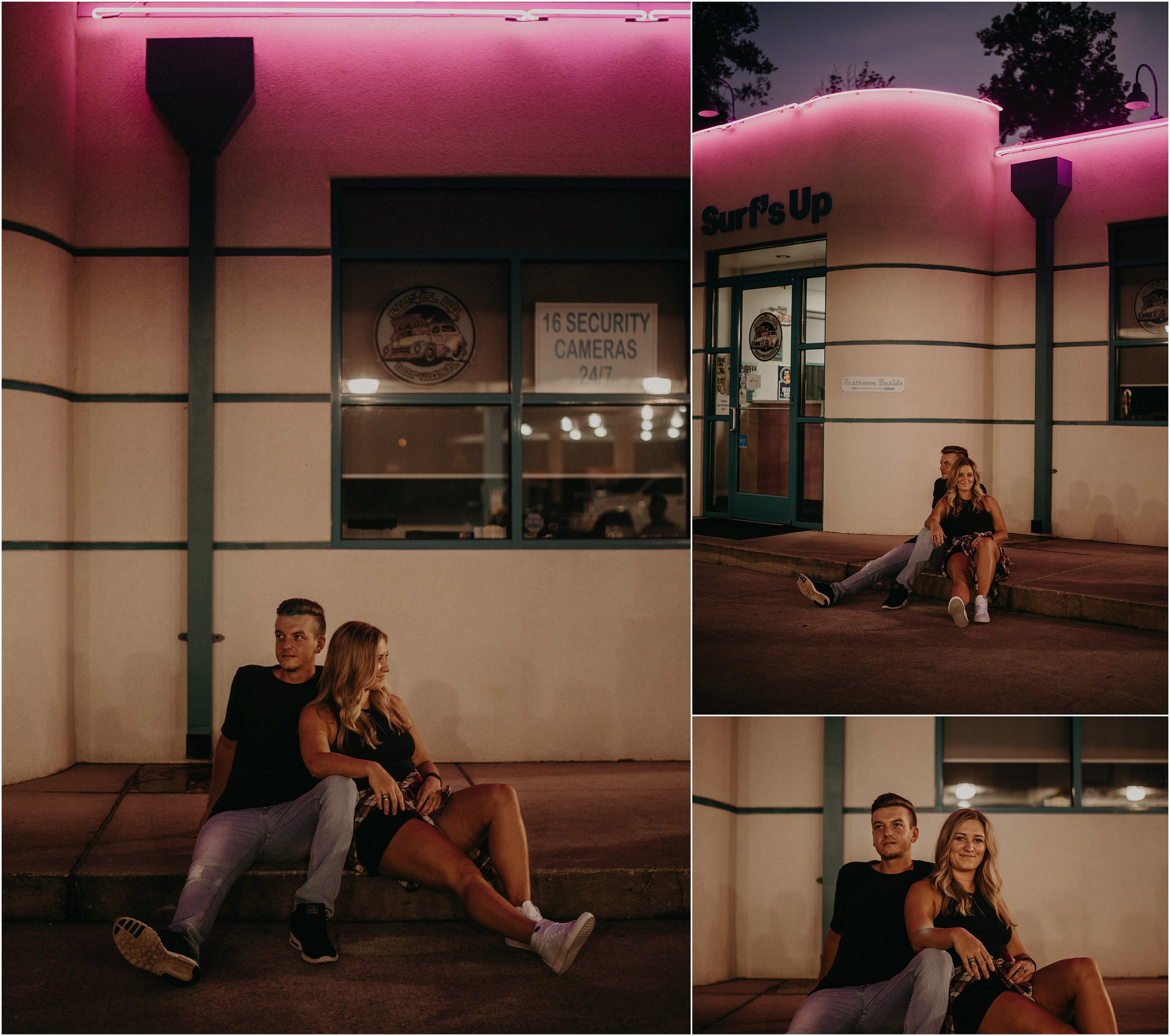Couple hangs out in car wash parking lot in Chattanooga, Tennessee