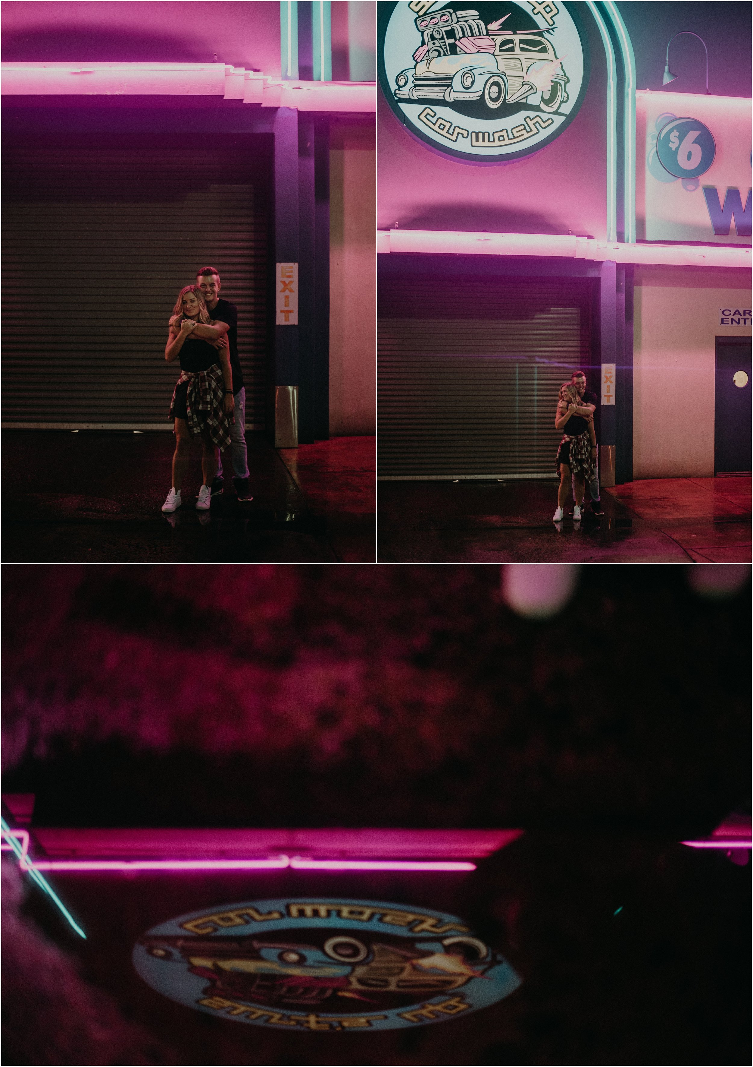 Love story photo session with the neon lights of a local car wash in Chattanooga, Tennessee