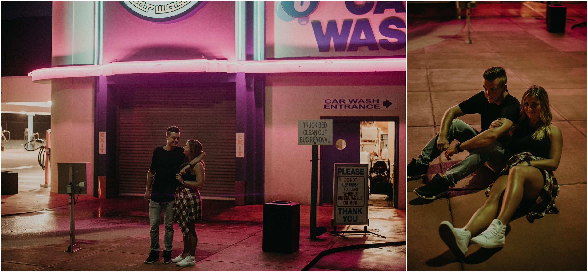 Couple lounges in parking lot of car wash at night for neon love story