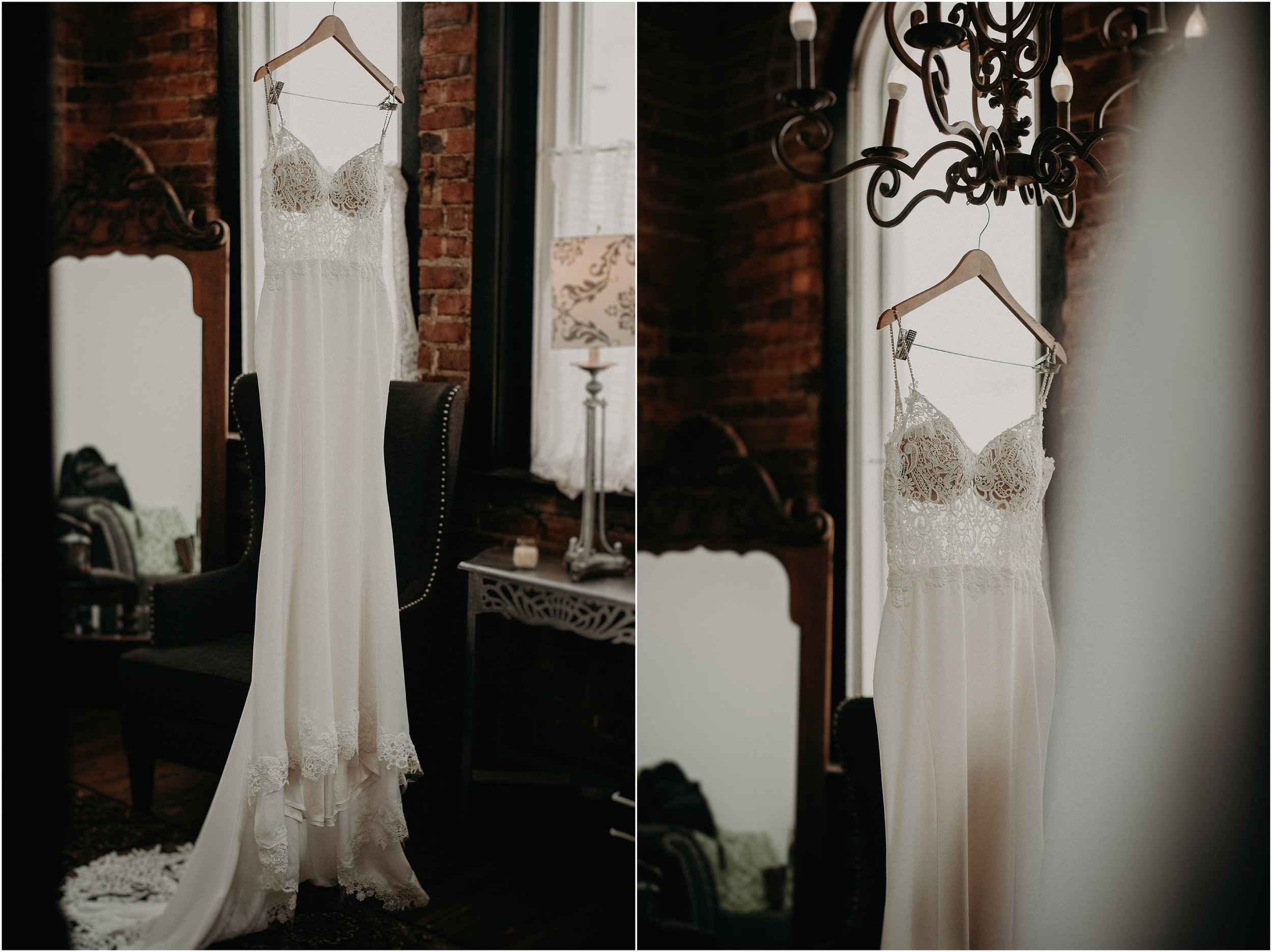 Bride's dress hangs from the chandelier in the Church on Main bridal suite
