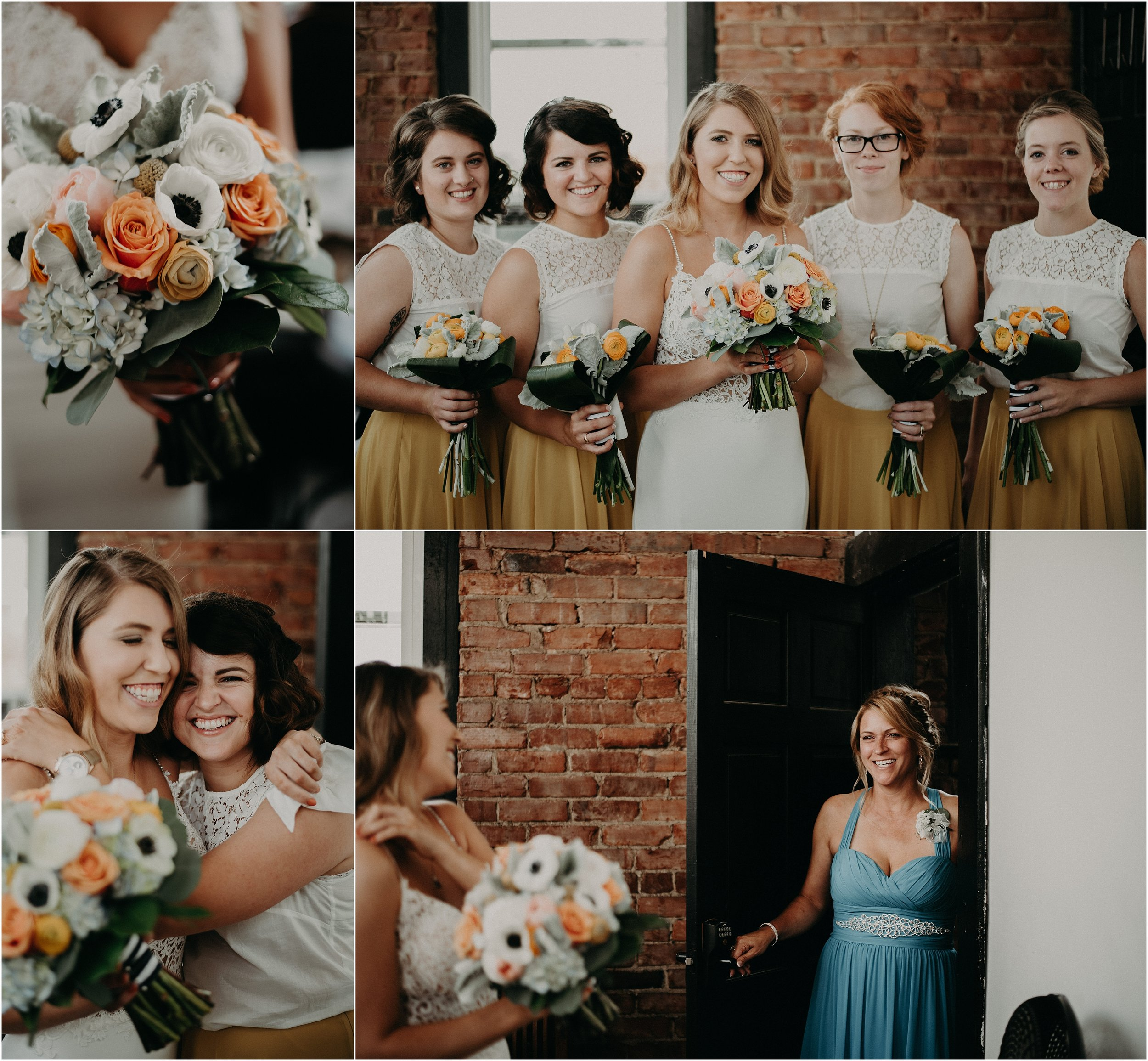 The bride with her bridesmaids and mother before the wedding ceremony