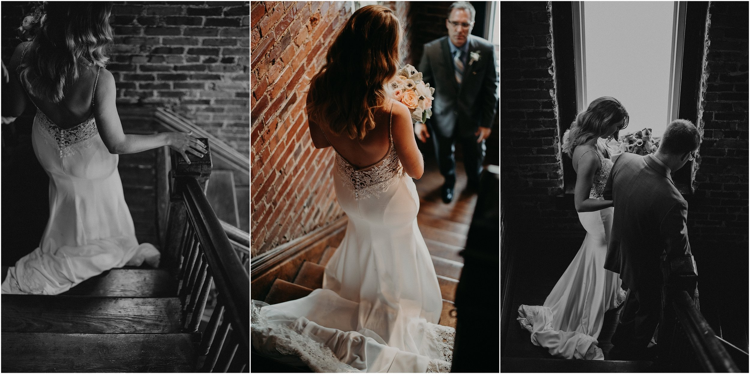 The bride walks down the stairs to her father before her grand ceremony entrance