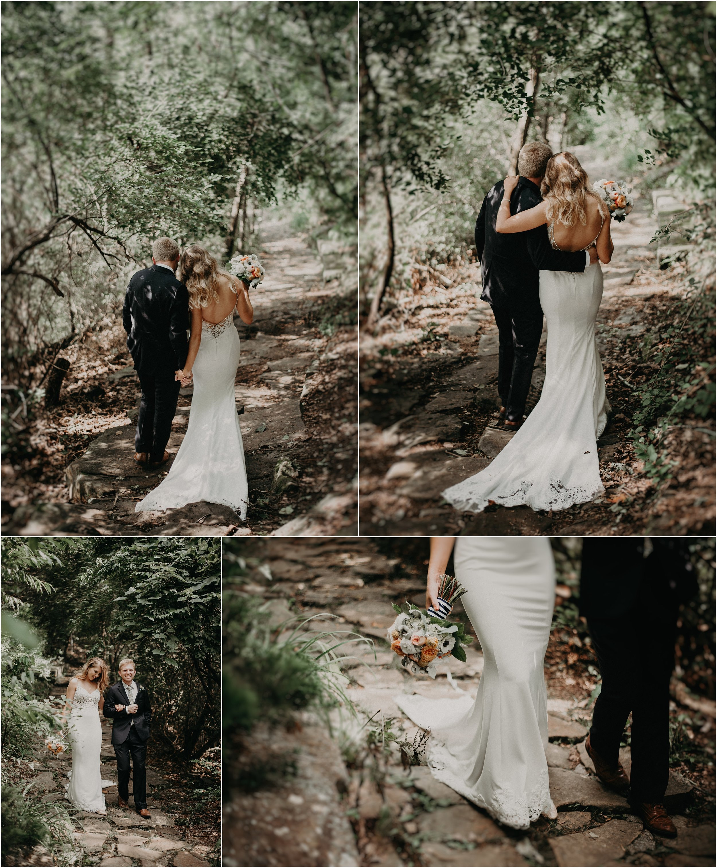 The bride and groom walk the trails to Sunset Rock in Chattanooga, Tennessee