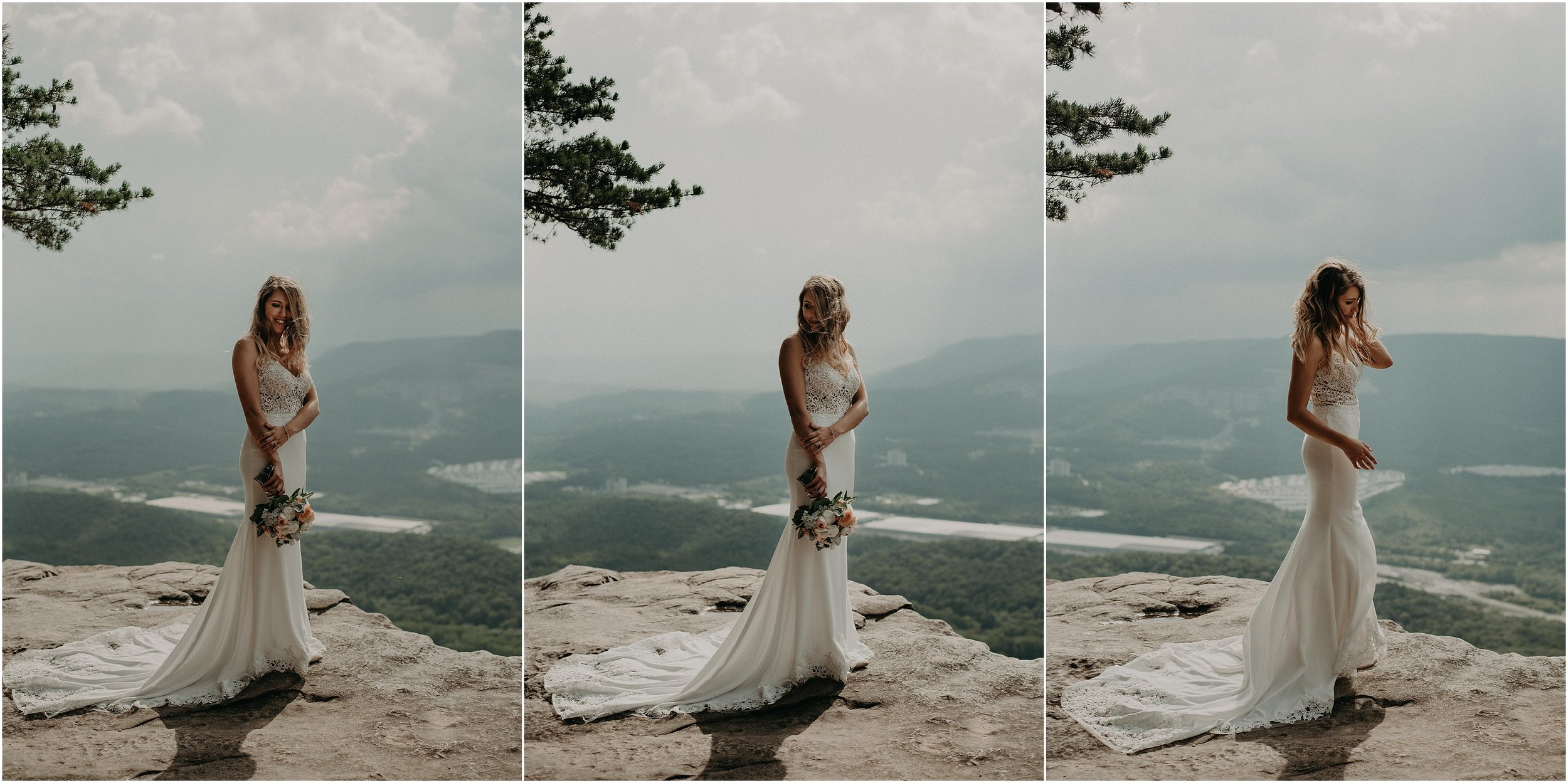 Bridal portraits before a summer storm atop Sunset Rock in Chattanooga, Tennessee