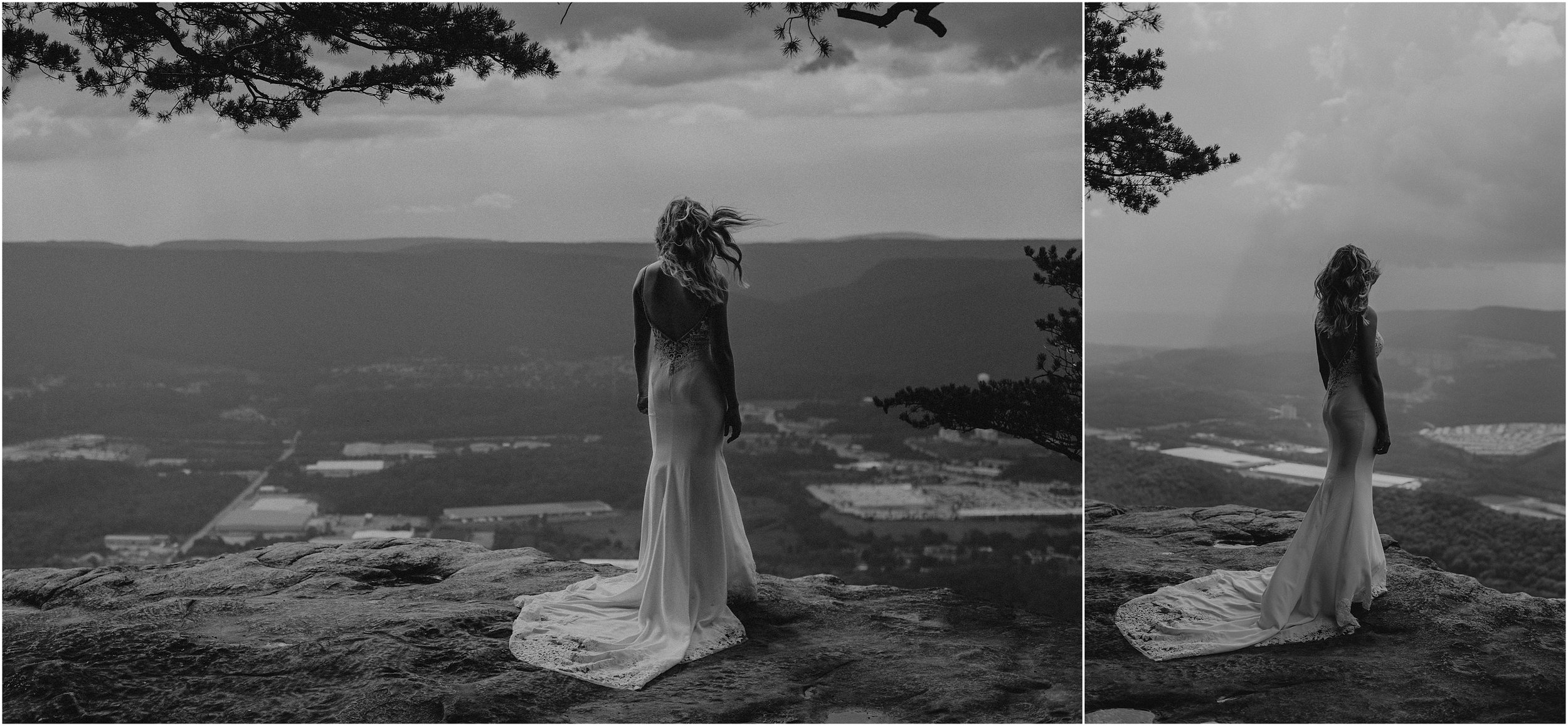 Dramatic black and white bride portraits before a summer storm atop a mountain