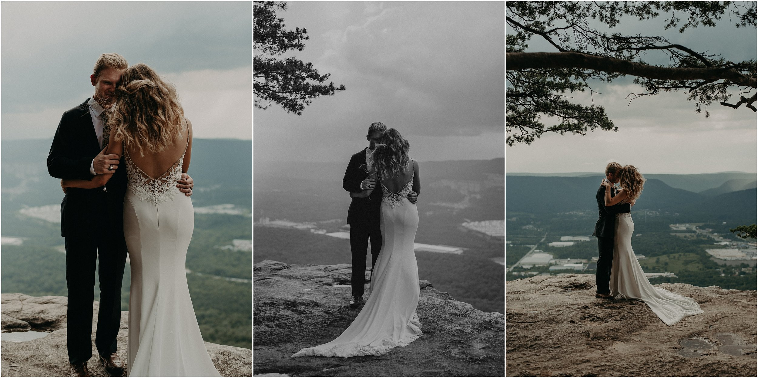 Bride and groom embrace each other on a moutain