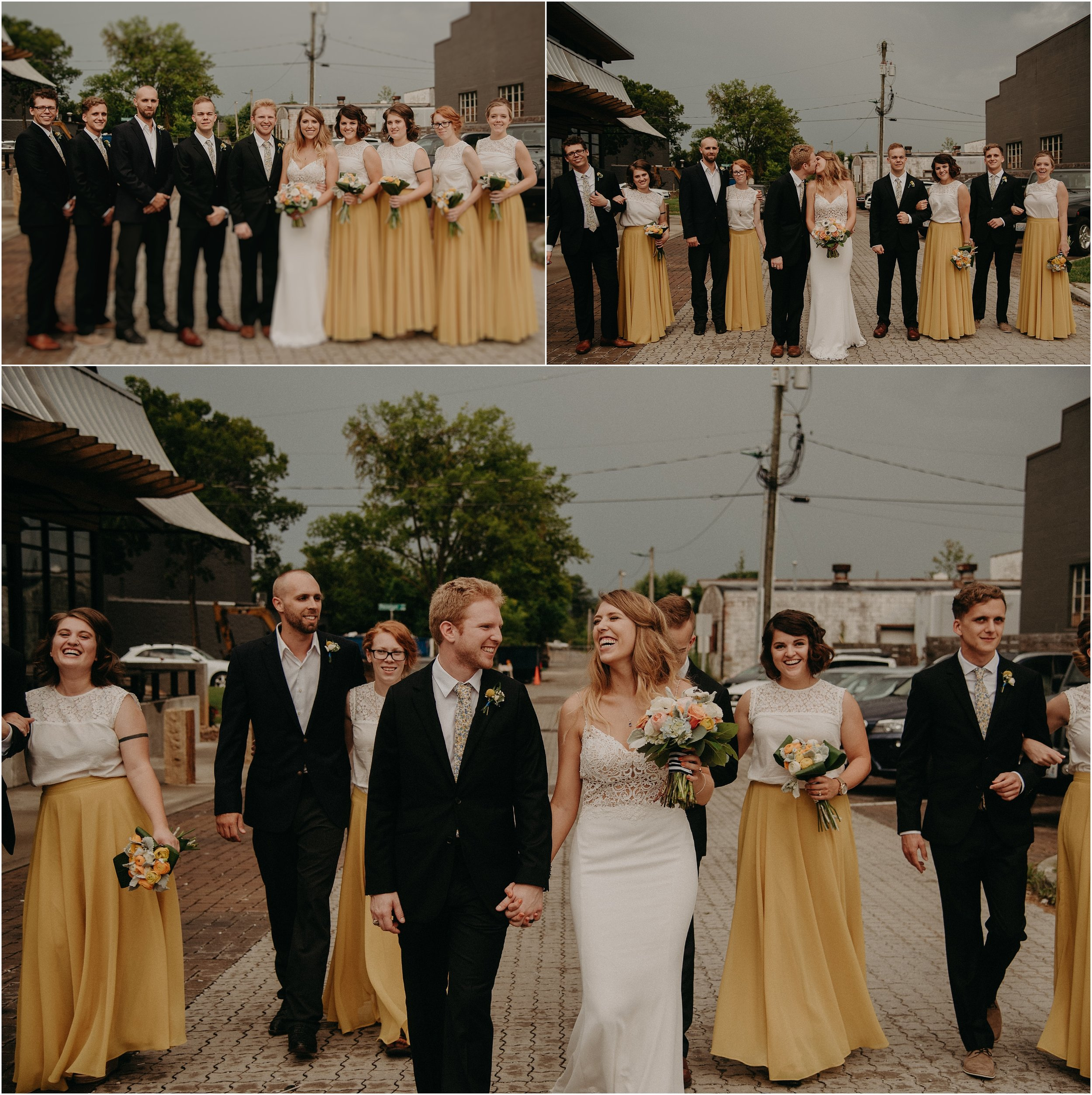 Wedding party portraits in the streets of downtown Chattanooga, Tennessee