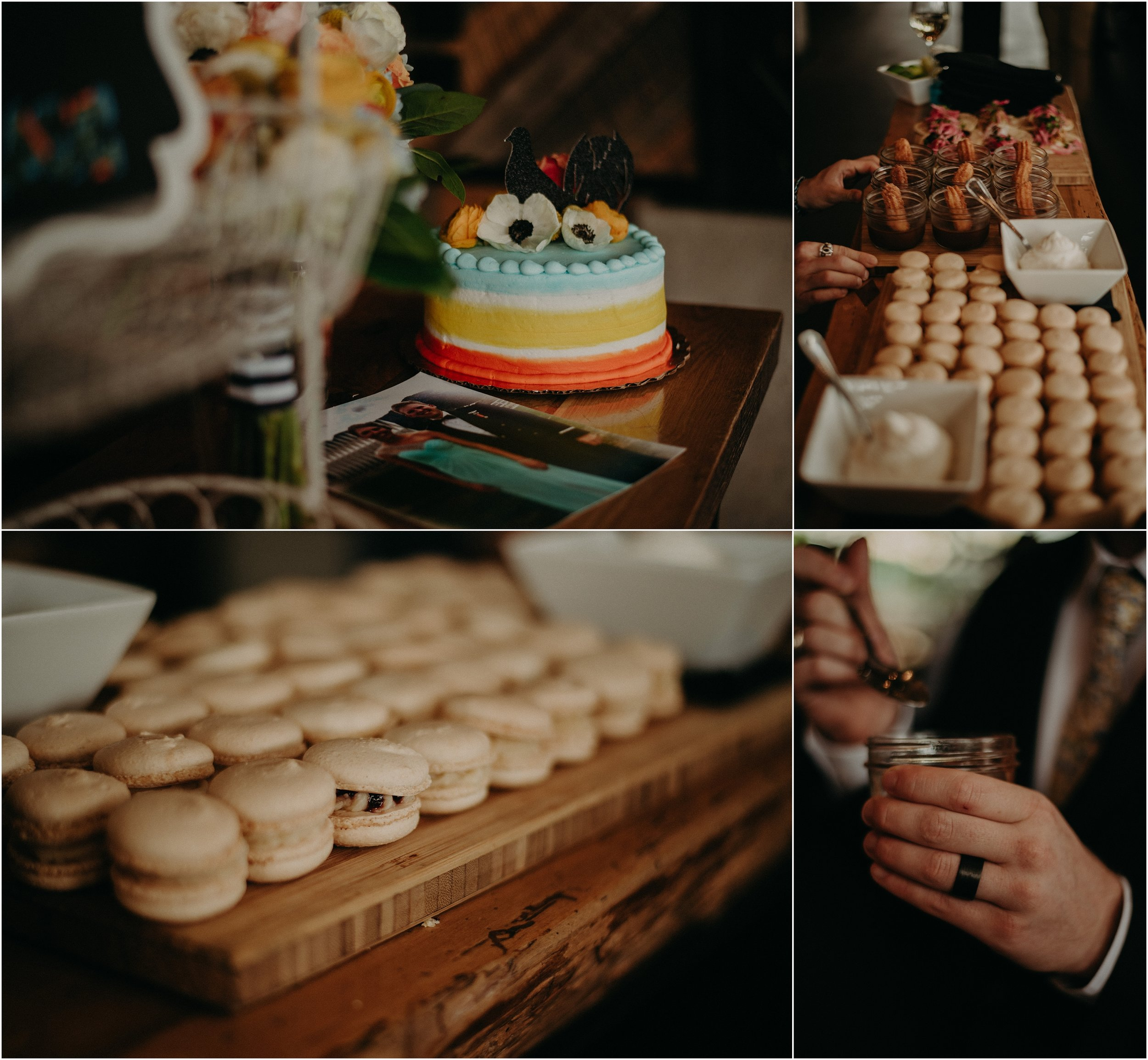 Wedding cake and sweets at the reception