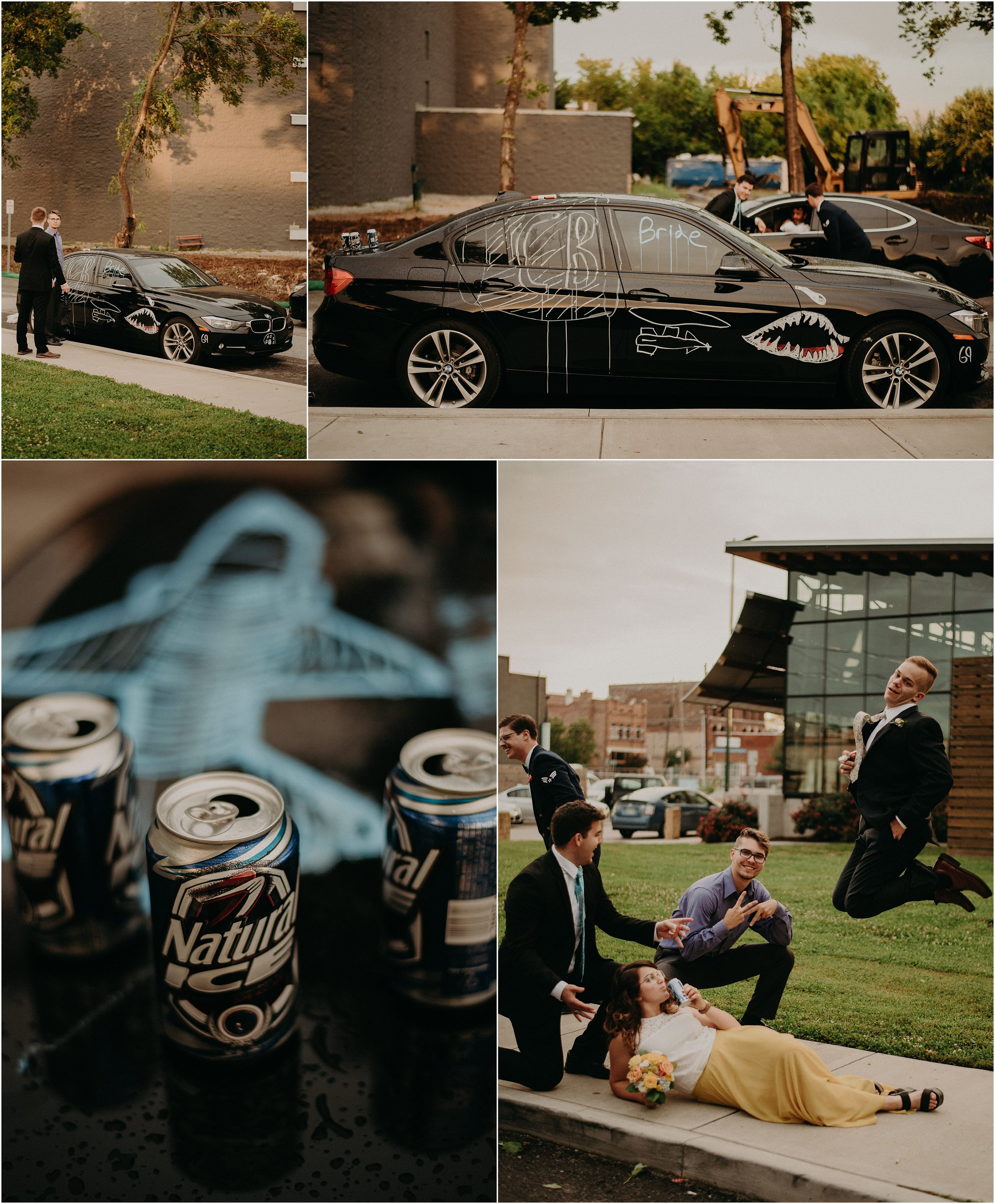 Groomsmen and friends decorate the Bride and Groom's getaway car outside of The Flying Squirrel Bar