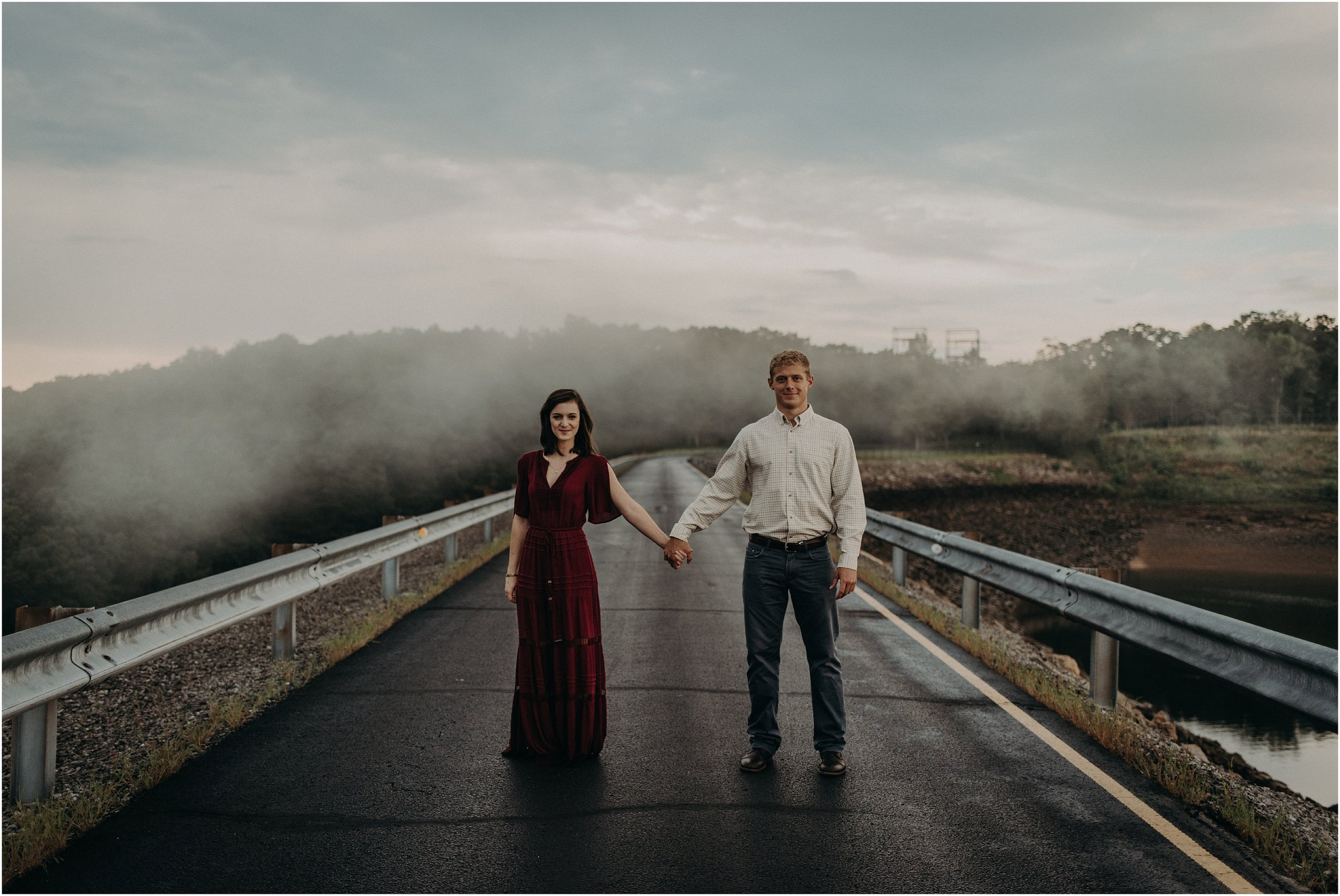 Epic engagement portrait with natural fog atop Raccoon Mountain in Chattanooga, Tennessee