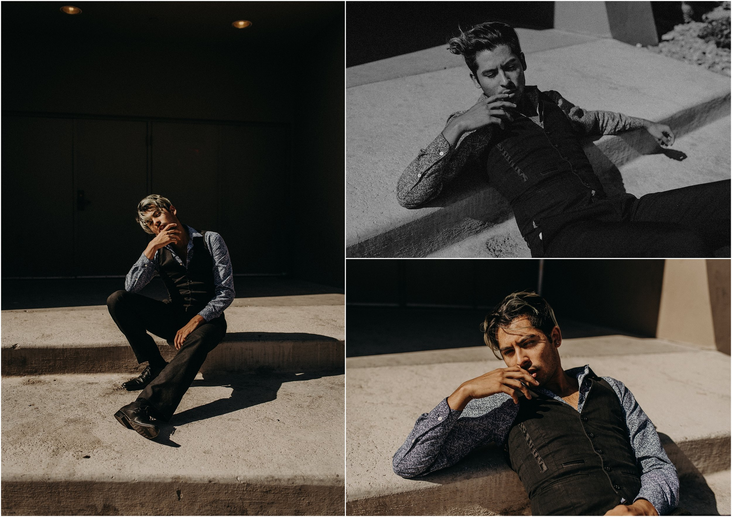 Jesse Garcia, Las Vegas male model, poses after a styled elopement photo shoot