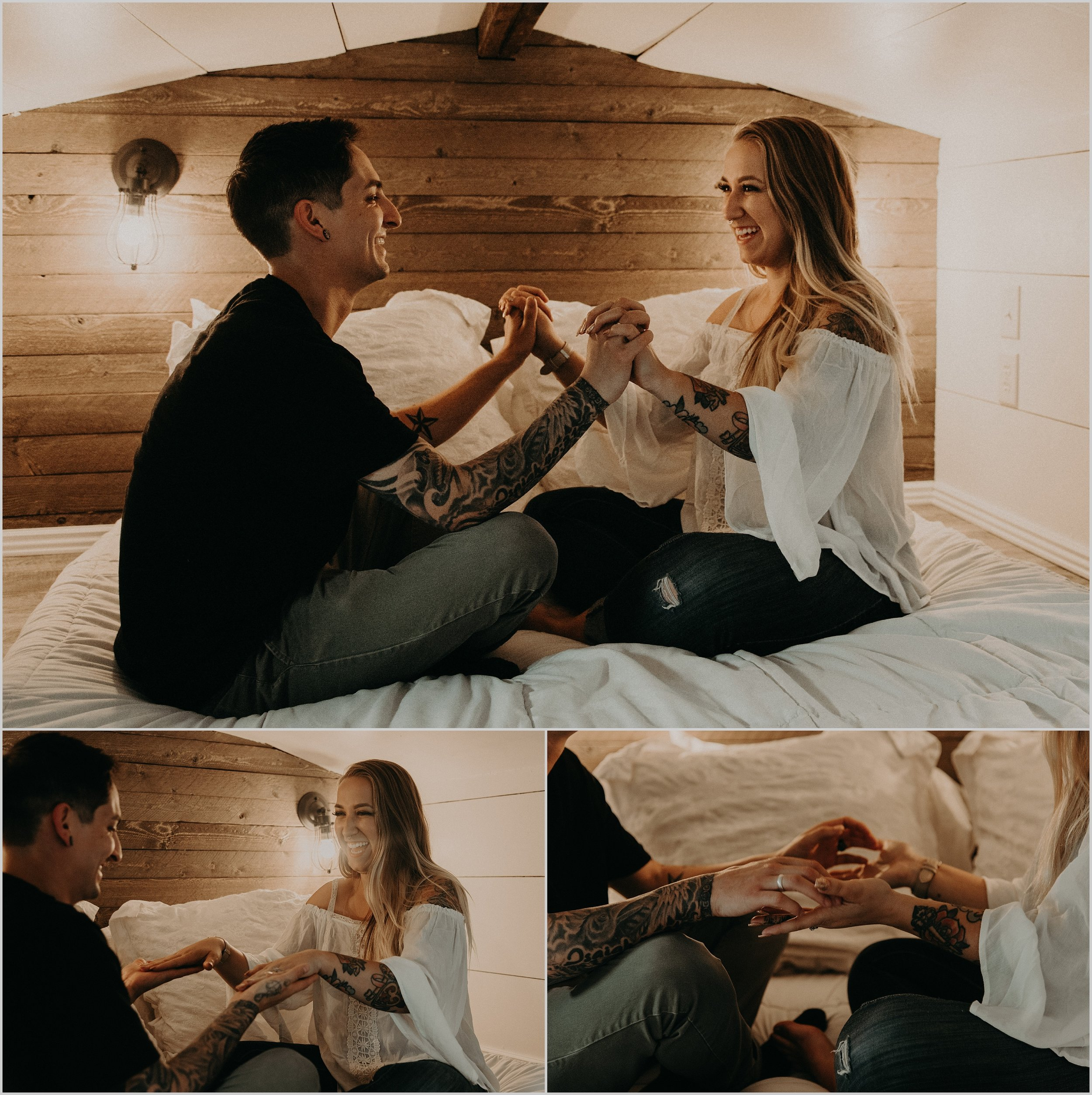 Tiny Home love story photo session playing patty cake in loft bedroom