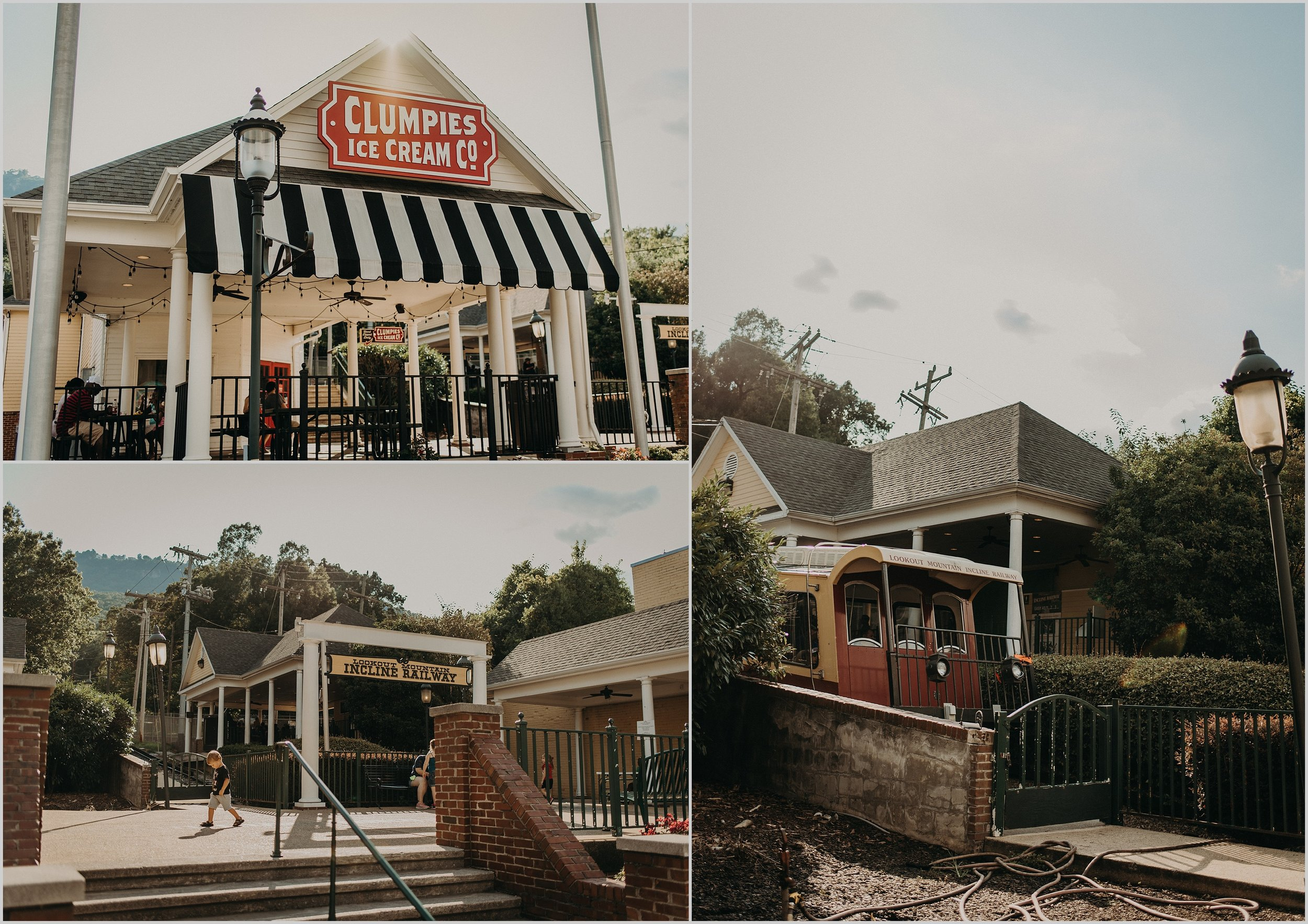 Historic St. Elmo's town center with Clumpie's Ice Cream and the Famous Incline Railway