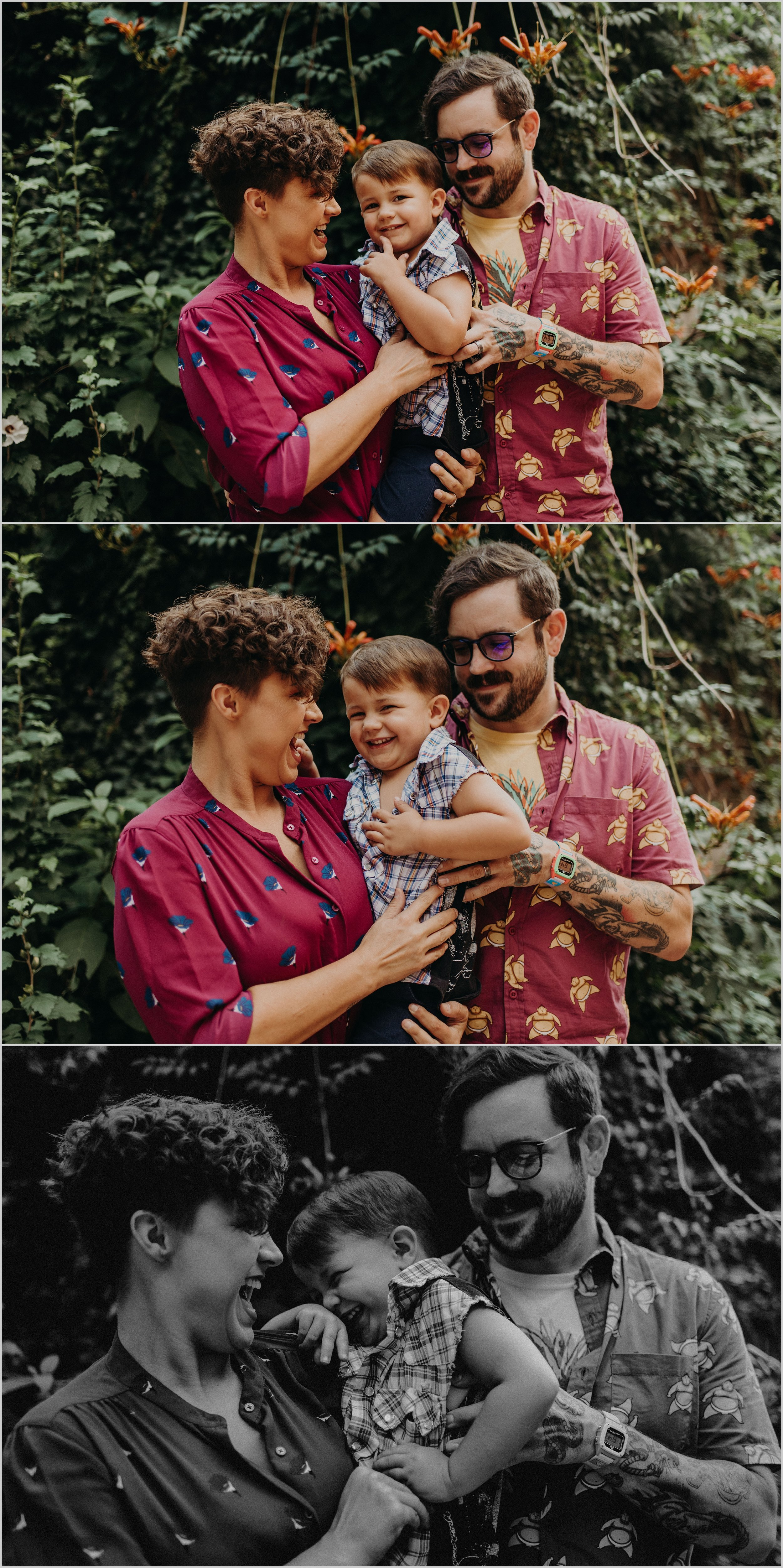 Family tickle fight during urban photo session