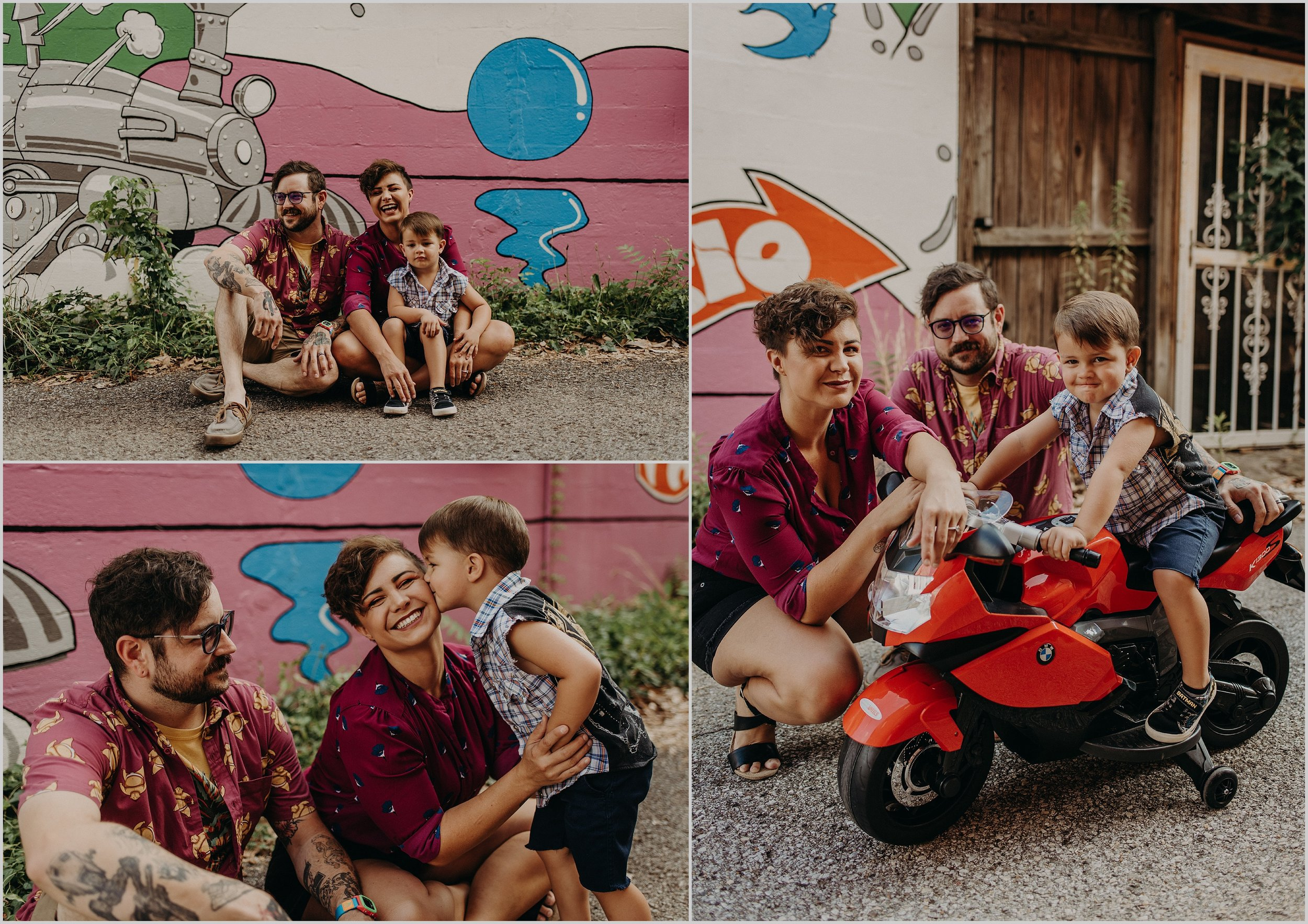 An urban family photo session in downtown St. Elmo in front of an artistic wall mural